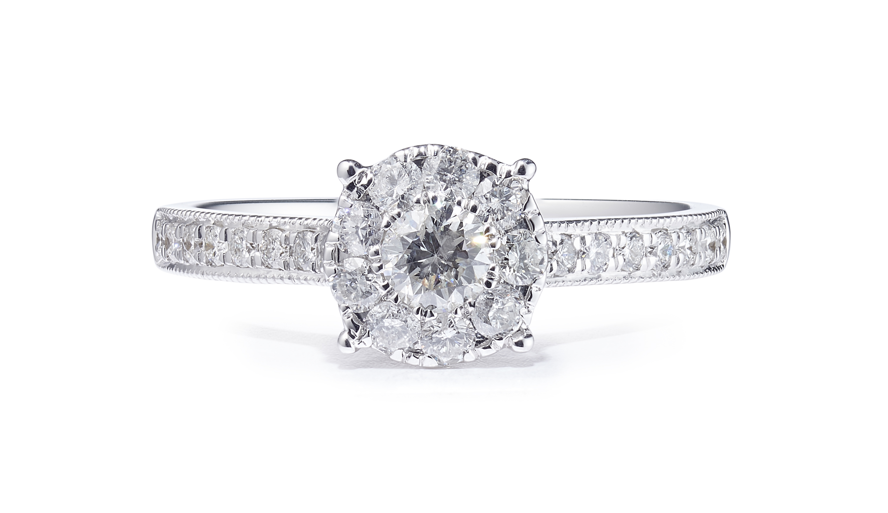 18ct White Gold Diamond Ring with Diamond Shoulders