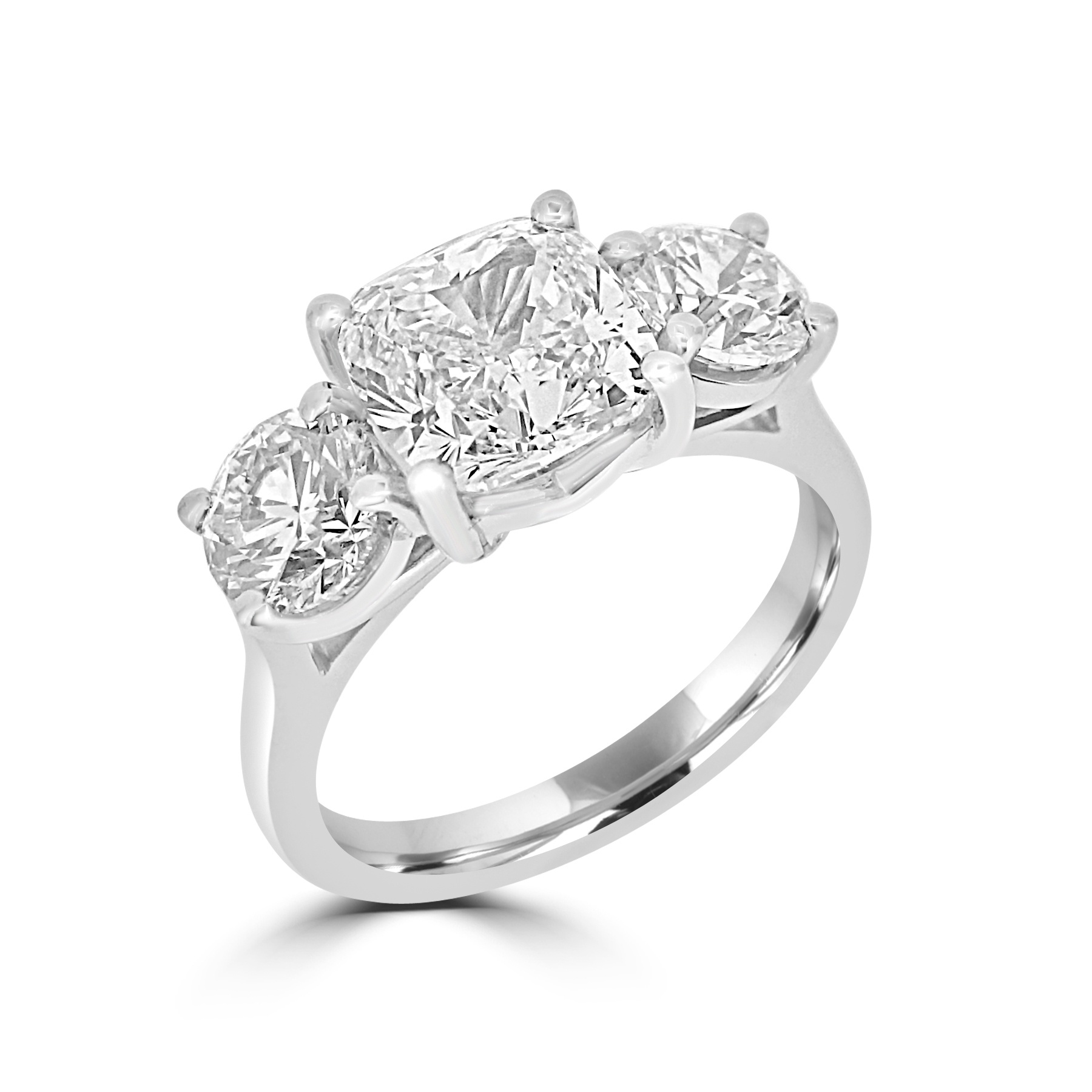 Cushion Cut and Brilliant Cut Ring – 3.94ct