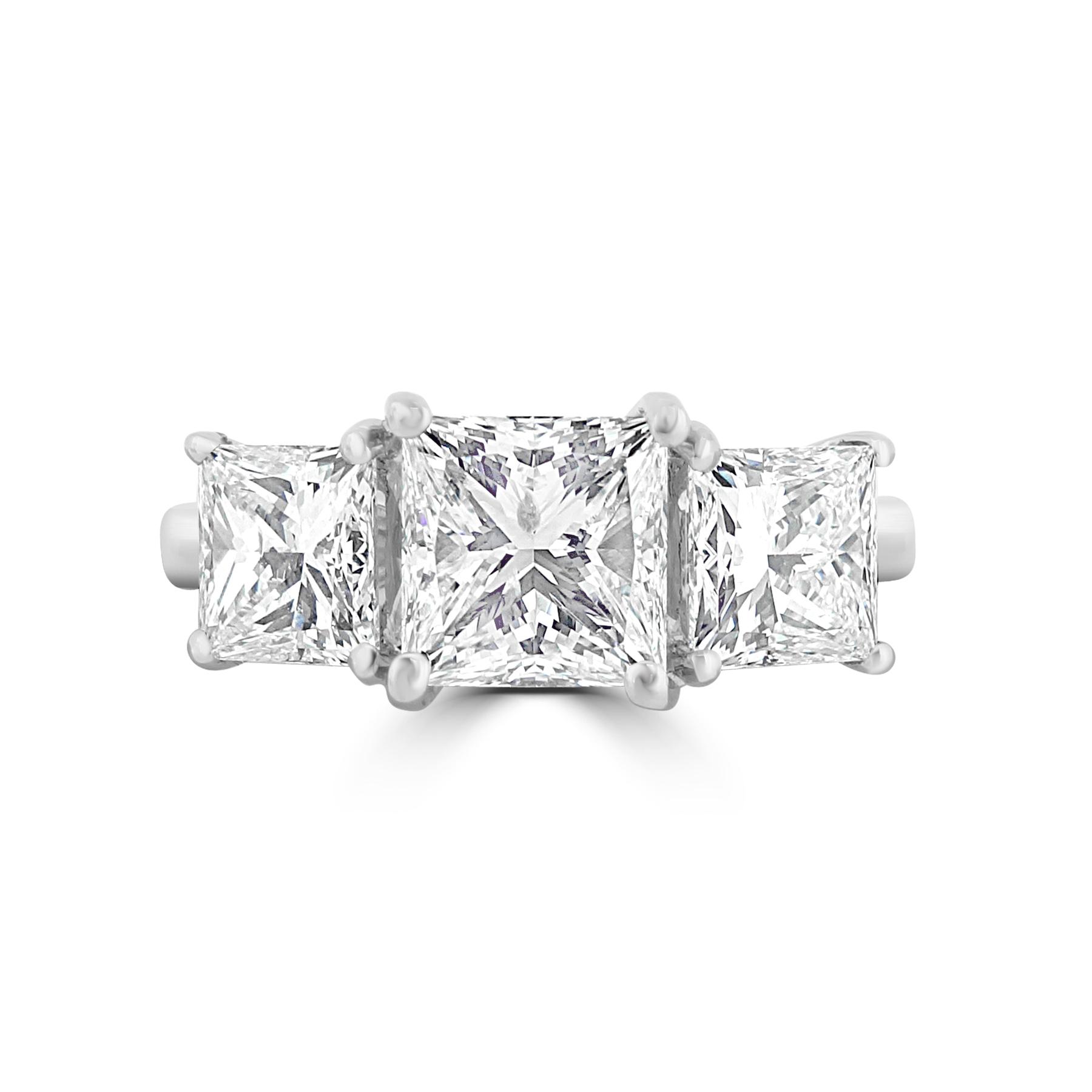 Platinum 3 Stone Princess Cut Ring – 2.66ct