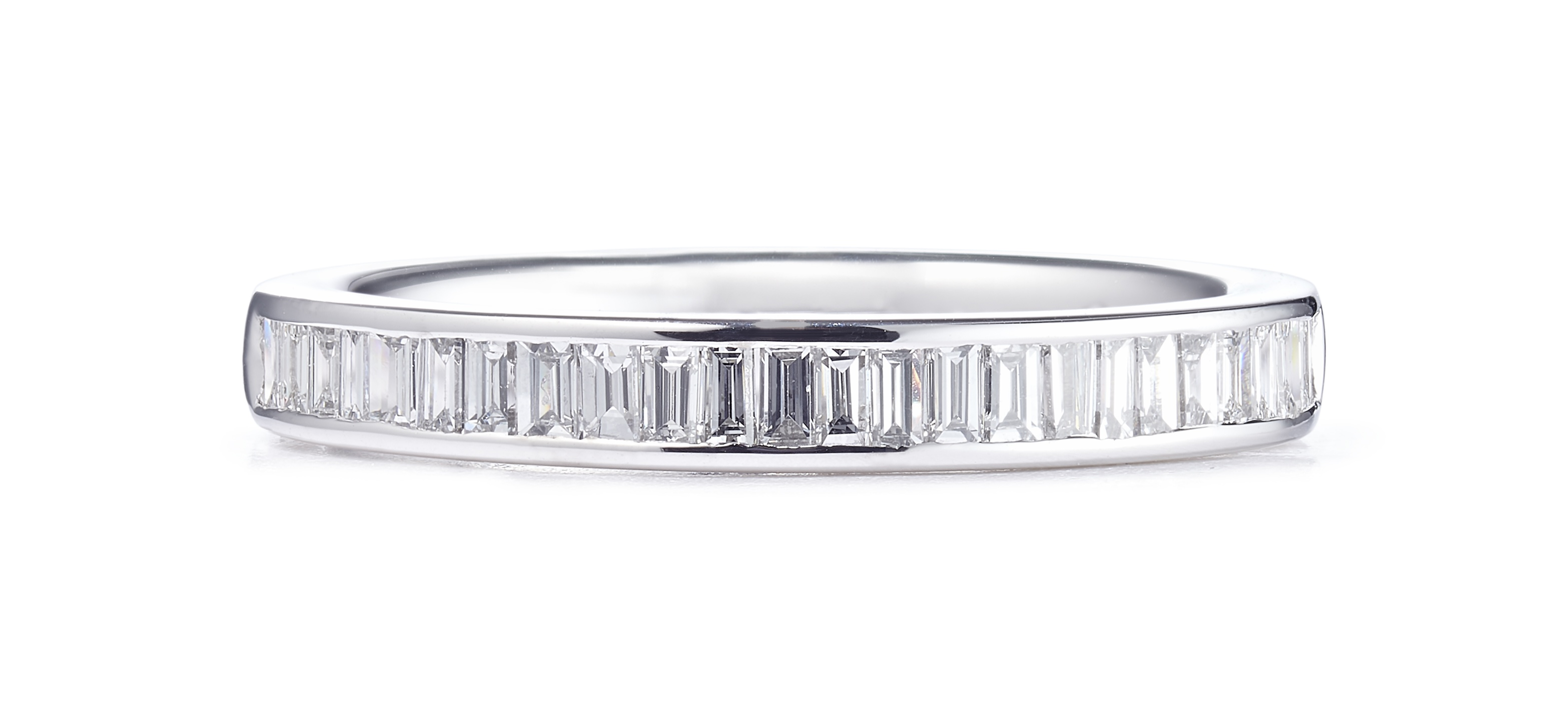 0.54ct 18ct White Gold Baguette Cut Diamond Ring – Finger Size O