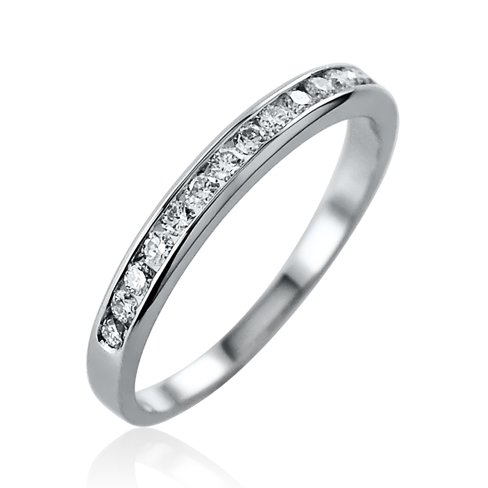 0.21ct Brilliant Cut Channel Set Diamond Ring – Size M 1/2 Leading Edge