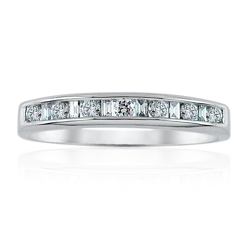 0.55ct Baguette and Brilliant Cut Diamond Ring – Size M Leading Edge