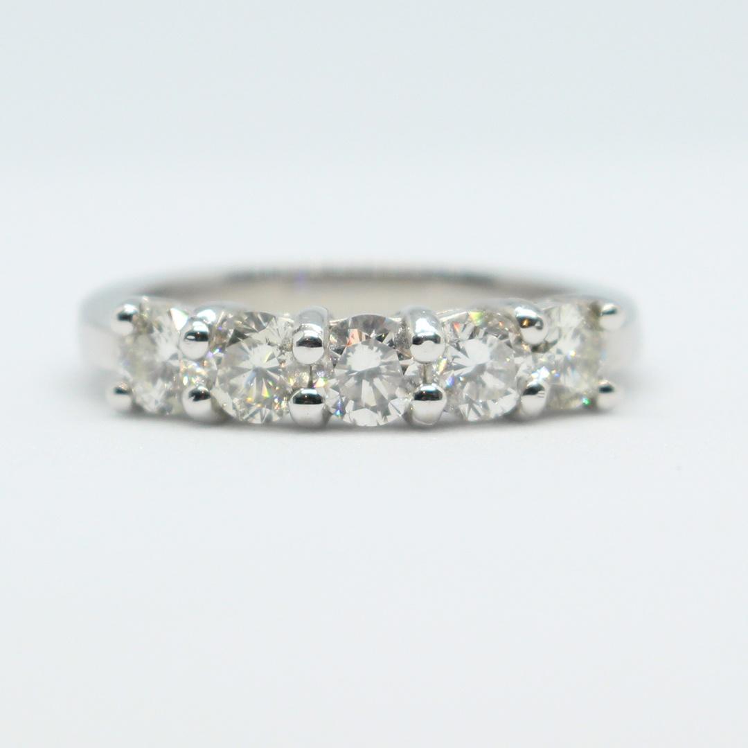 0.90ct* 5 Stone Brilliant Cut Diamond Ring – Size L 1/2 leading edge