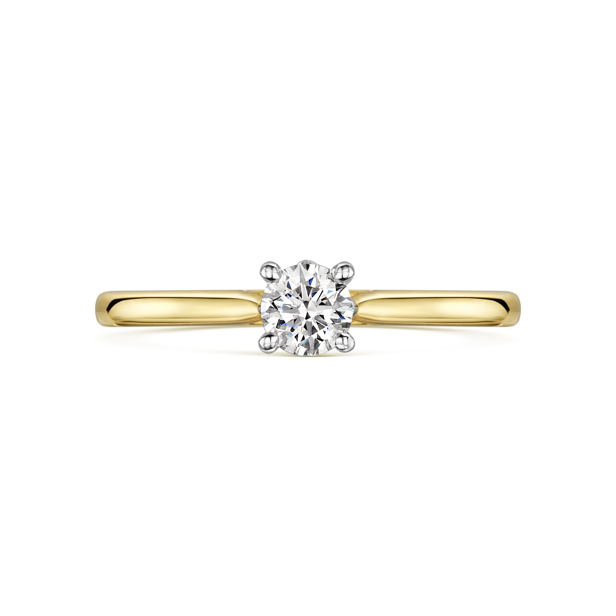 0.38ct 18ct Yellow and White 4 Claw Solitaire