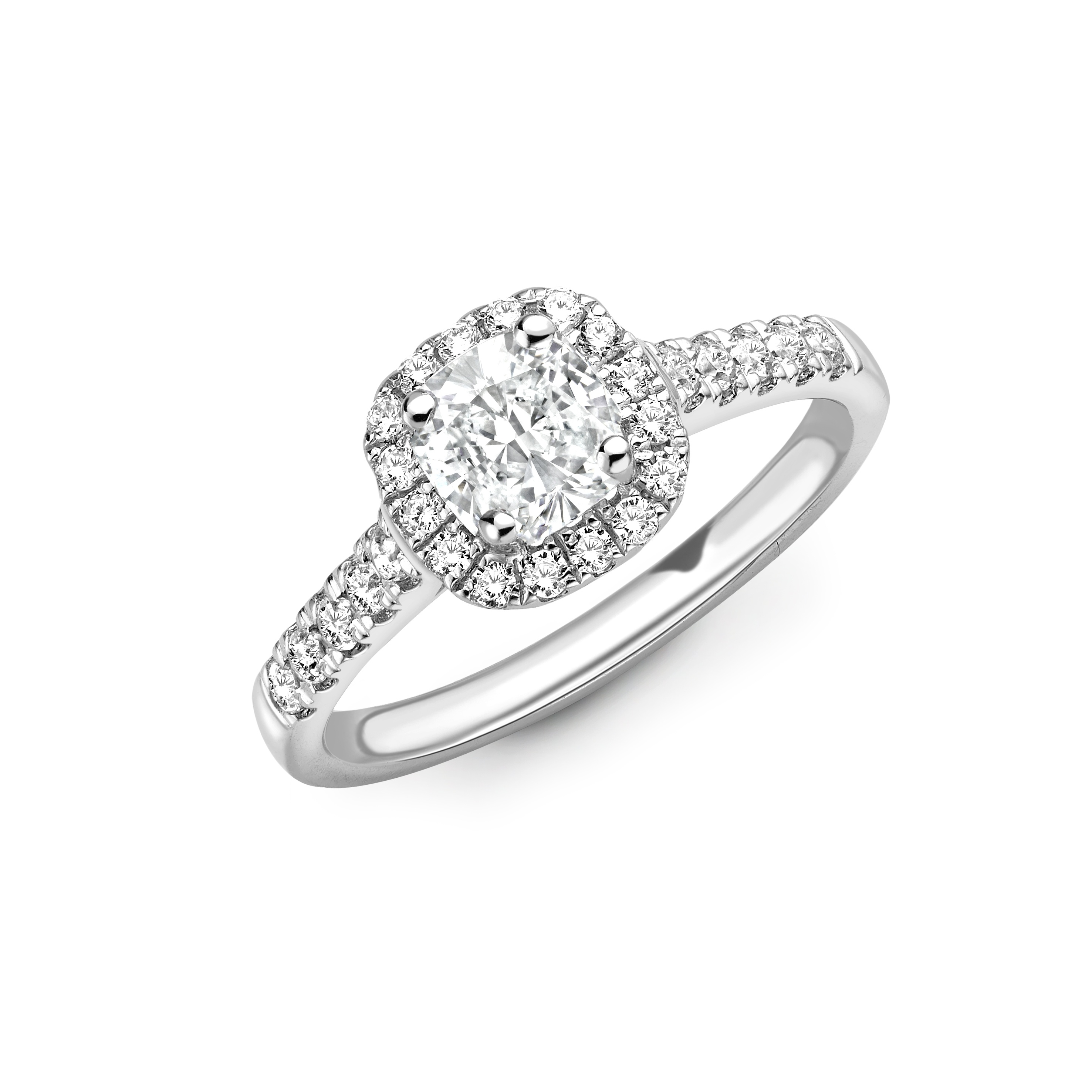0.53ct Cushion Cut Platinum Halo Design Ring – D Colour