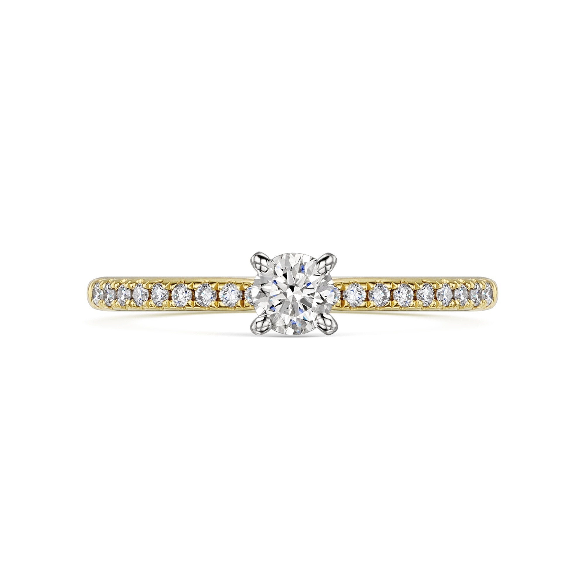 0.23ct Brilliant Cut 18ct Gold Ring With Diamond Set Shoulders