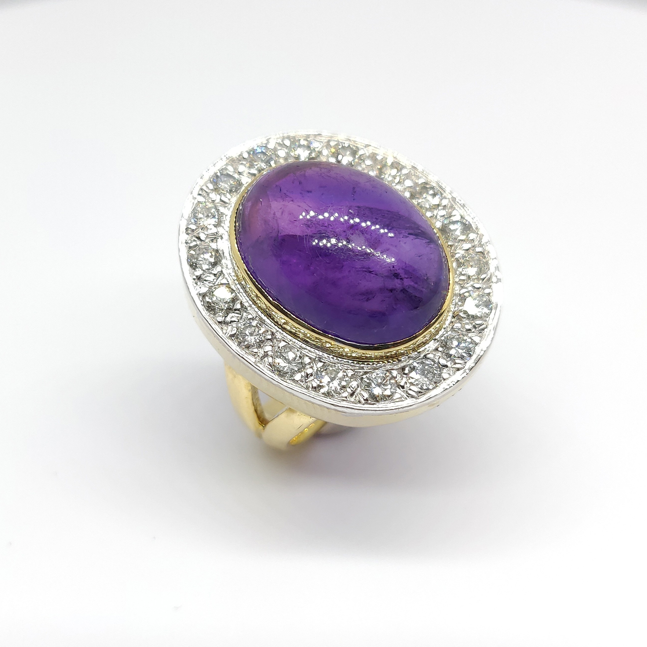 Preowned 18ct Amethyst and Diamond Ring