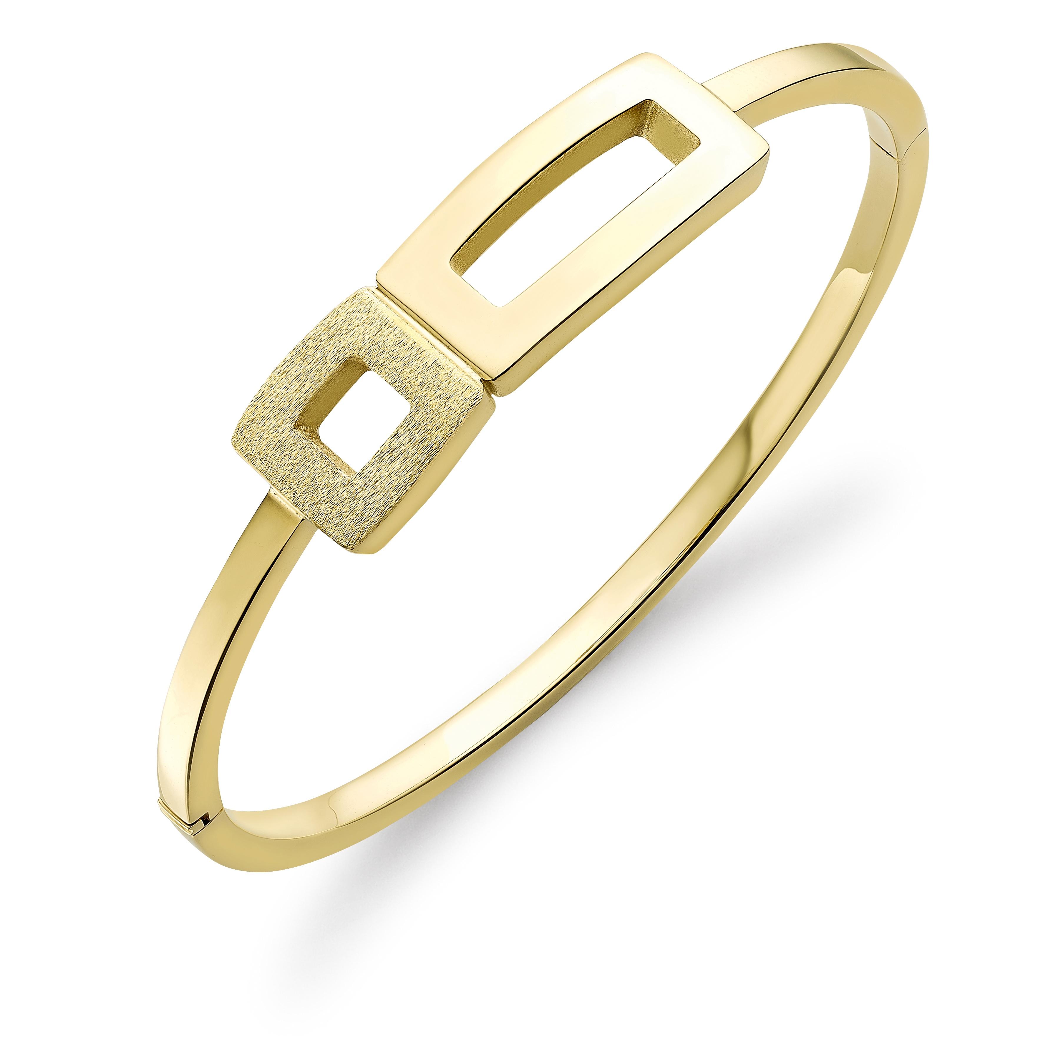 9ct yellow gold geometric bangle
