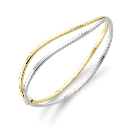 9ct Yellow and White Gold Wave Design Bangle