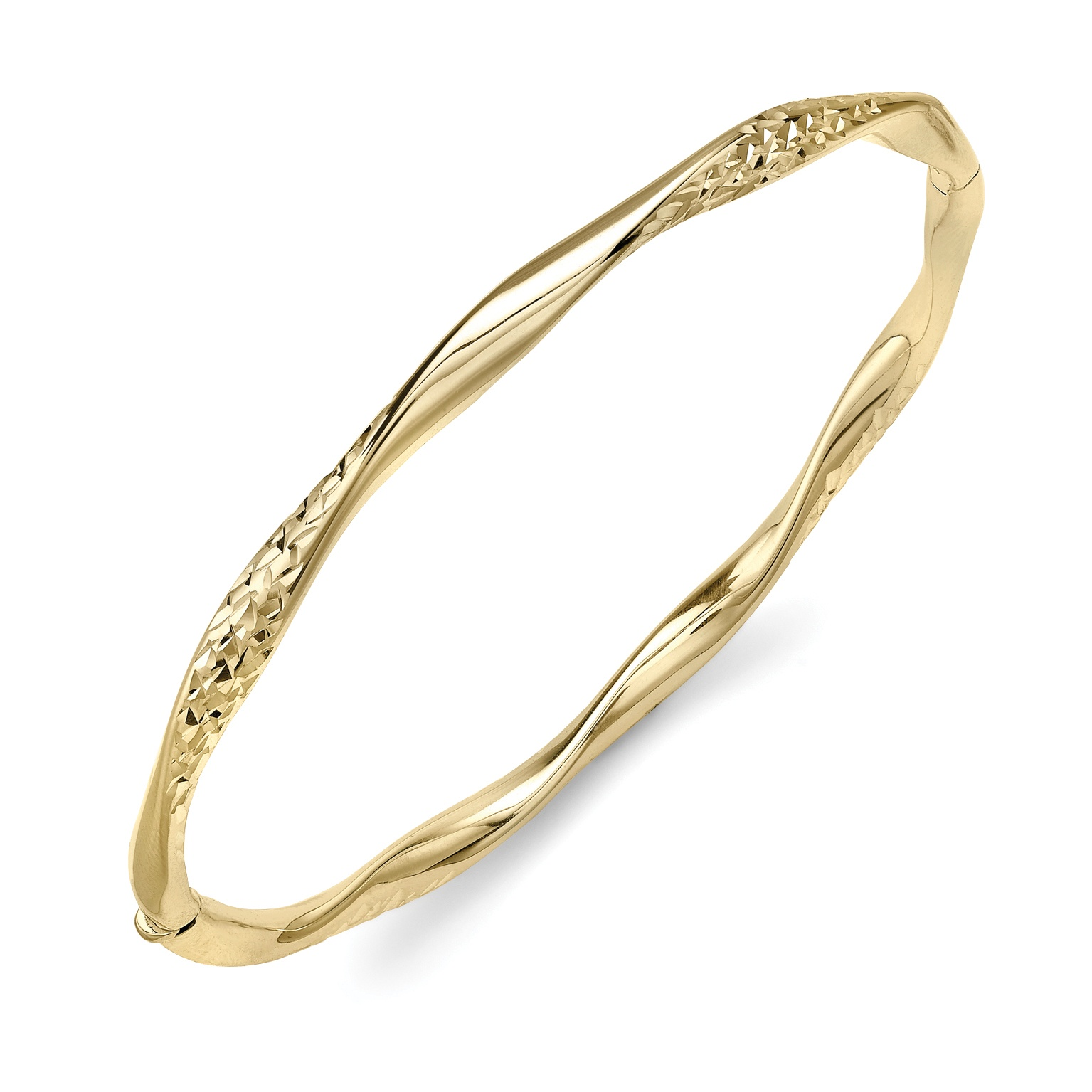 9ct Patterned Twist Design Bangle