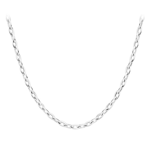 9ct White Gold Oval Belcher Link Necklace