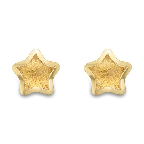 9ct Yellow Gold Star Design Stud Earrings