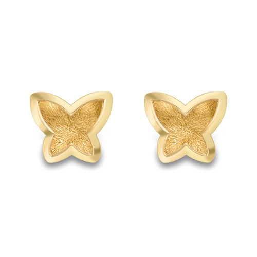 9ct Yellow Gold Butterfly Design Stud Earrings