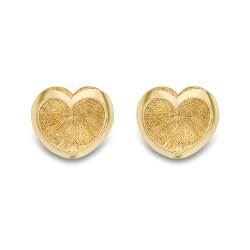 9ct Yellow Gold Heart Design Stud Earrings