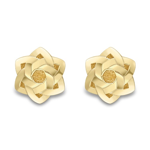 9ct Yellow Gold Floral Design Stud Earrings