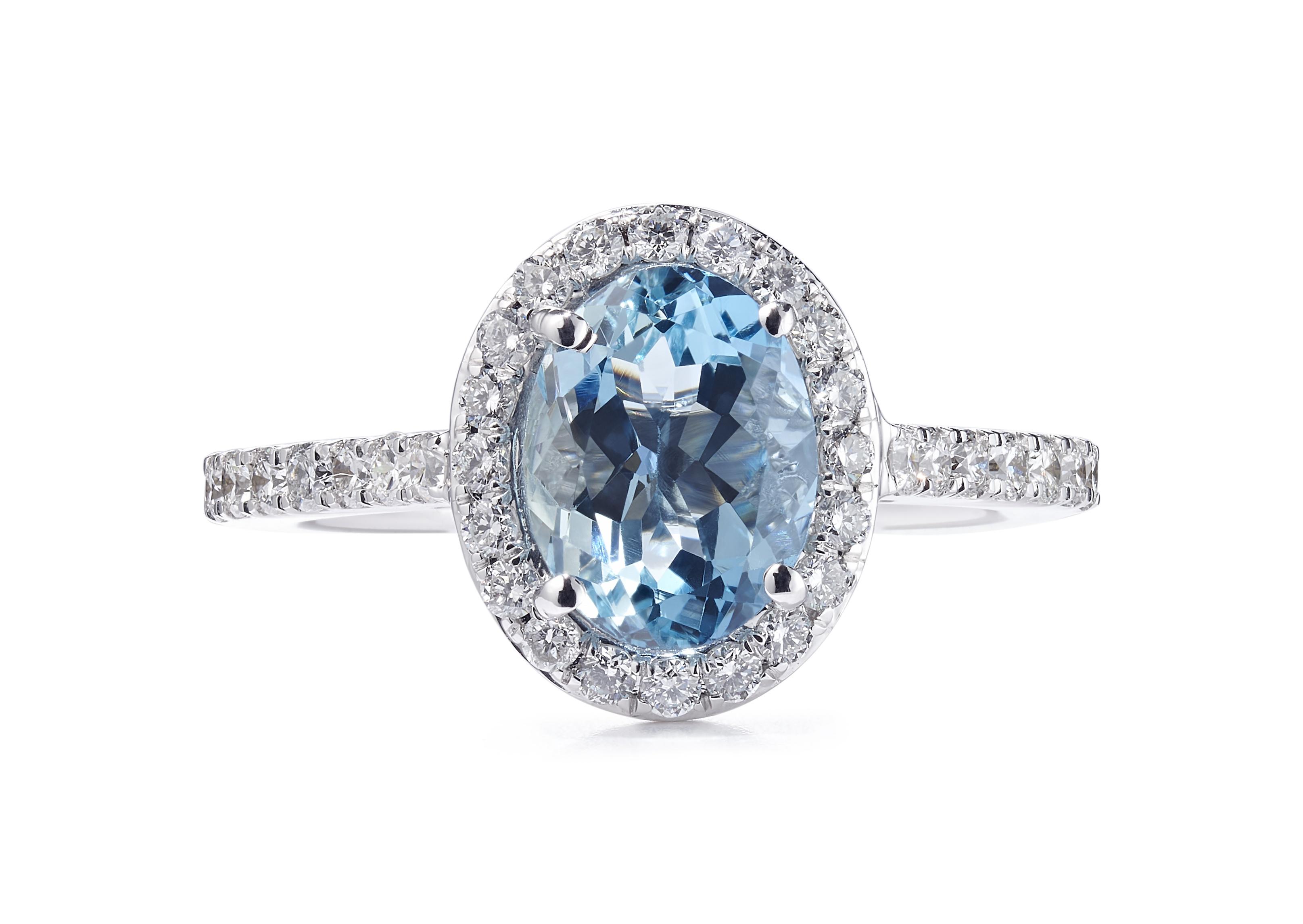 18ct White Gold  Halo Design Aquamarine Ring