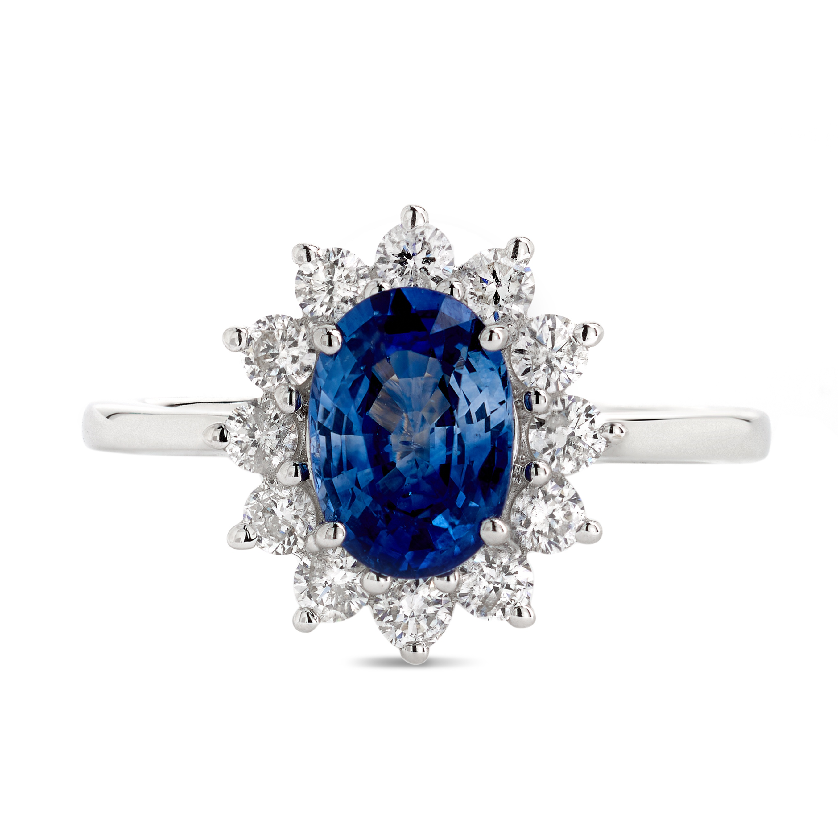 18ct White Gold Sapphire and Diamond Cluster Ring – Medium