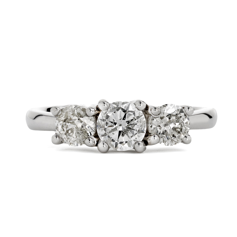 1.28ct Platinum 3 Stone Diamond Ring