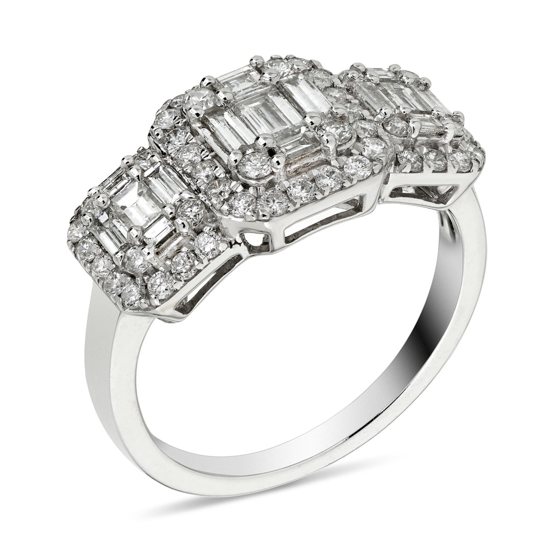 1.13ct 18ct White Gold Triple Diamond Cluster Ring
