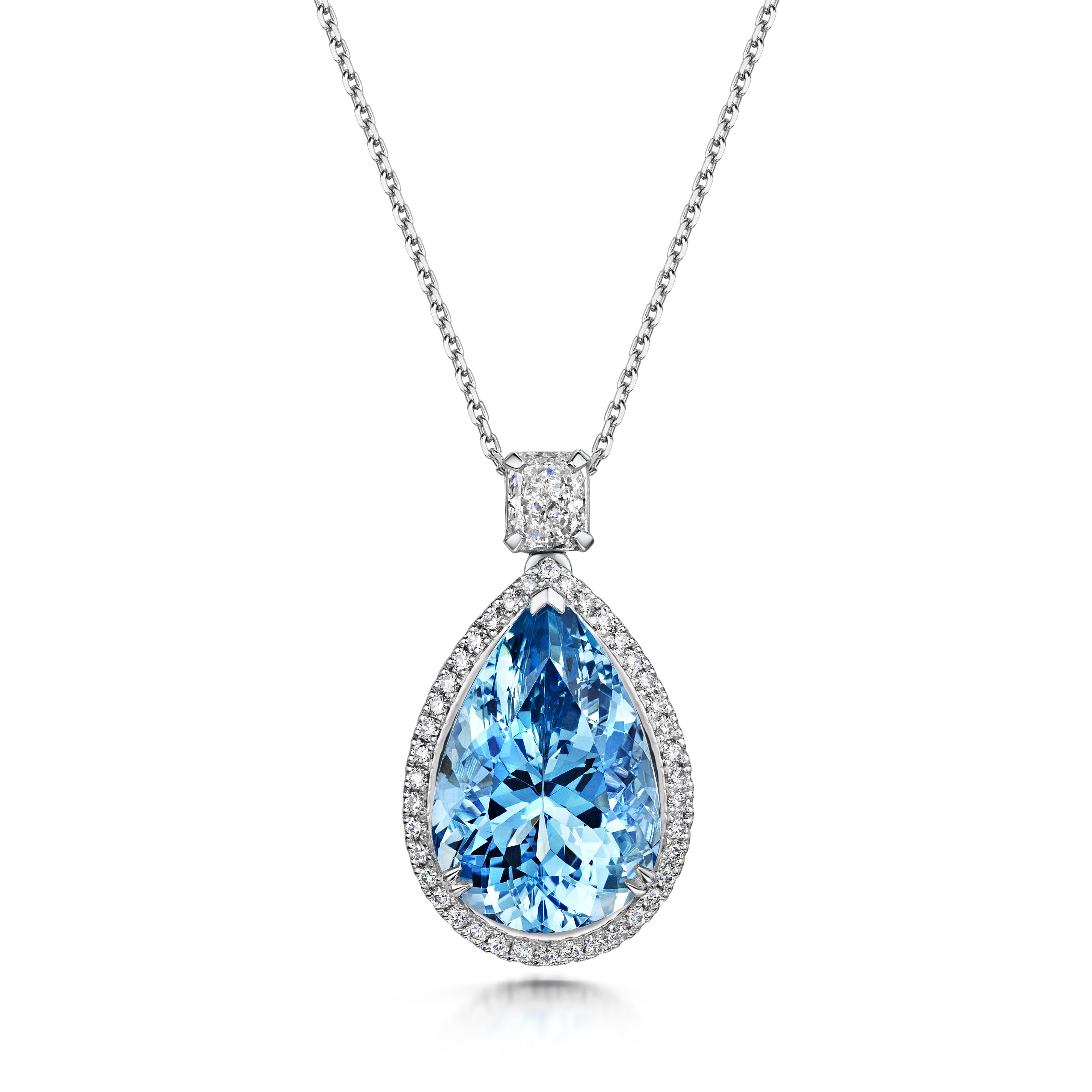 10.19ct Aquamarine and Diamond Pendant Set In Platinum