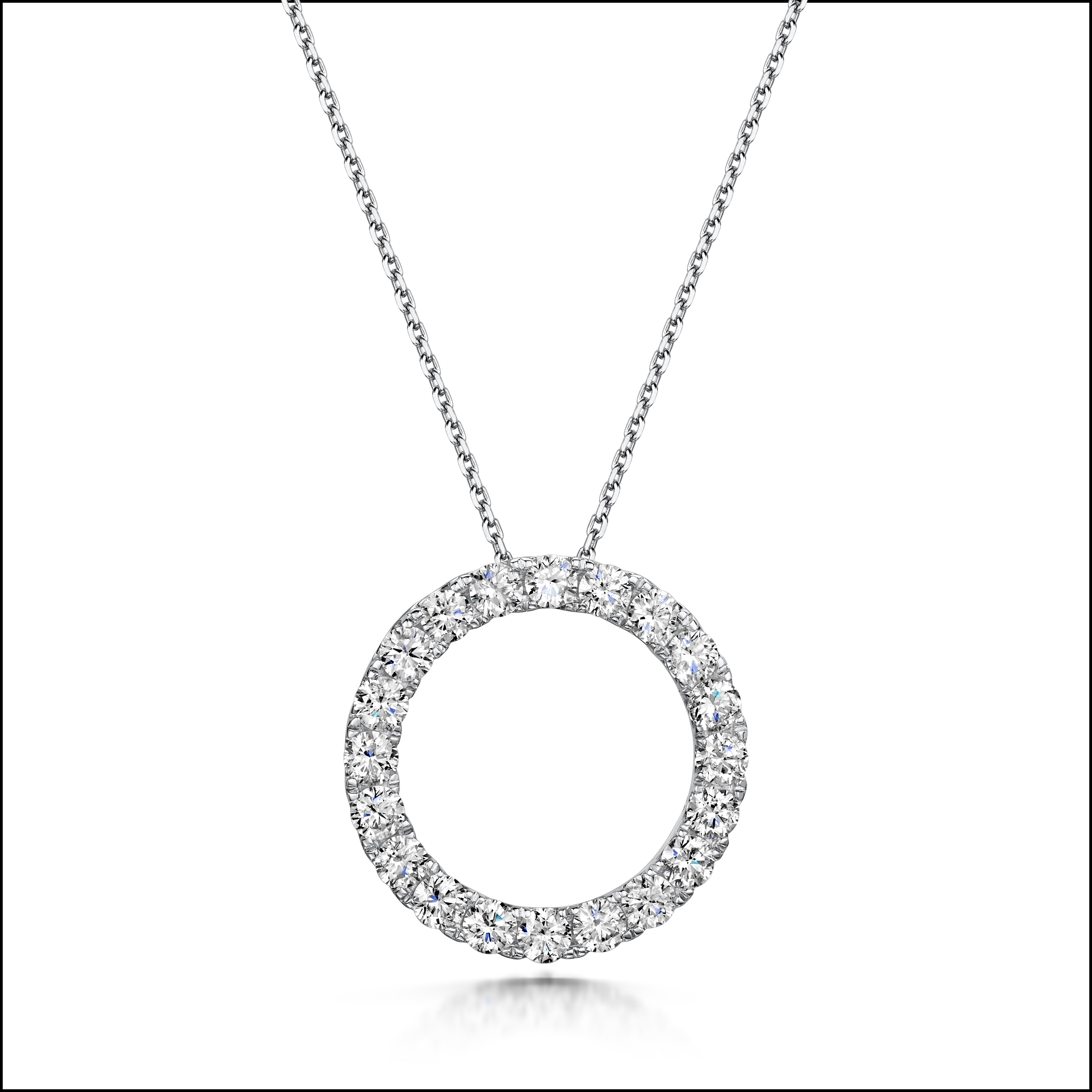 2.00ct 18ct White Gold Circle Diamond Pendant