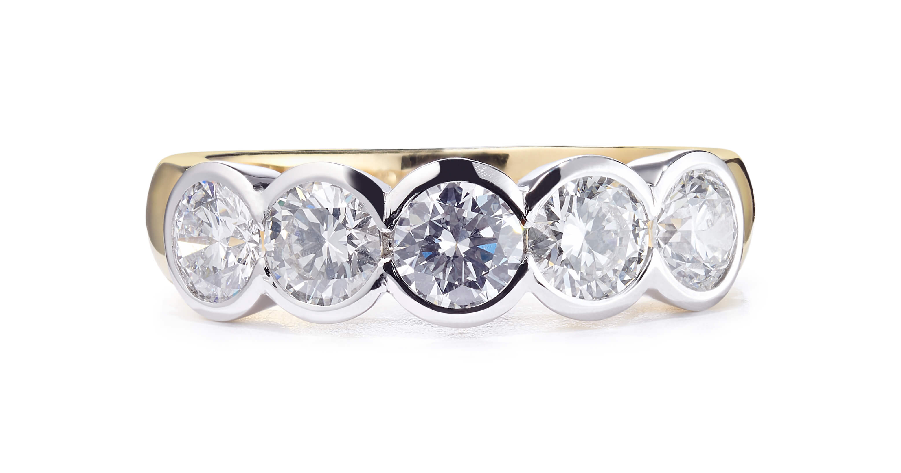 0.51ct 18ct yellow and white gold 5 stone rub-over ring