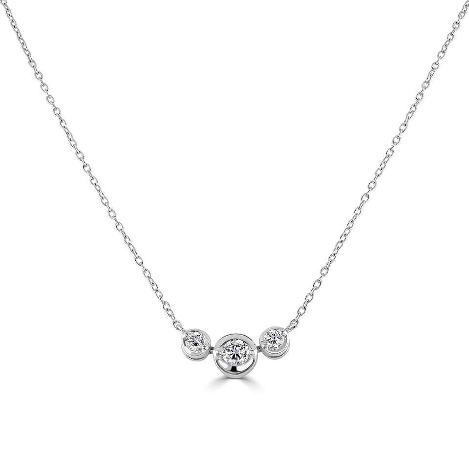 0.53ct, 18ct White Gold 3 Stone Diamond Pendant