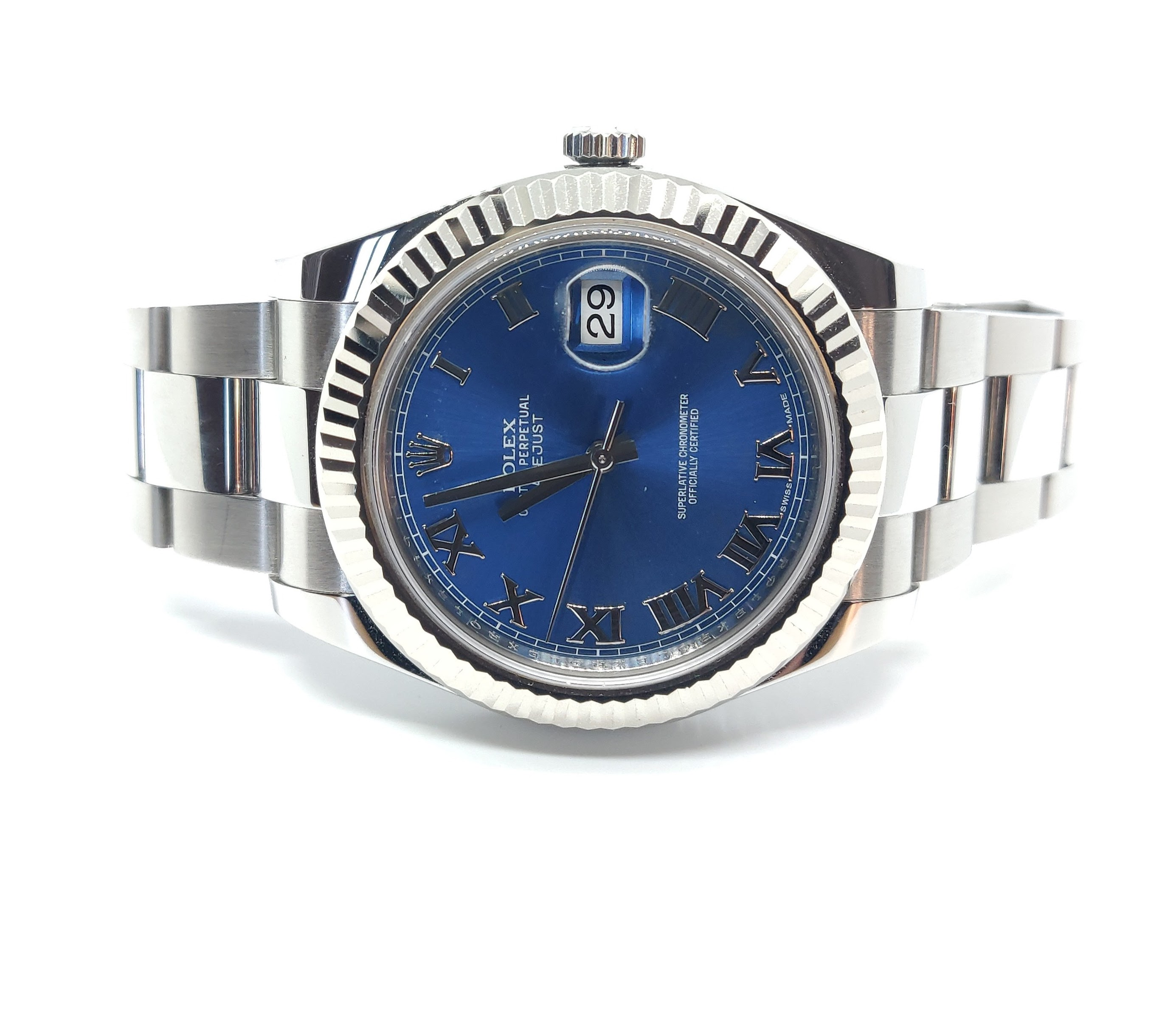 Rolex Datejust II with Blue Dial and Roman Numerals – 116334