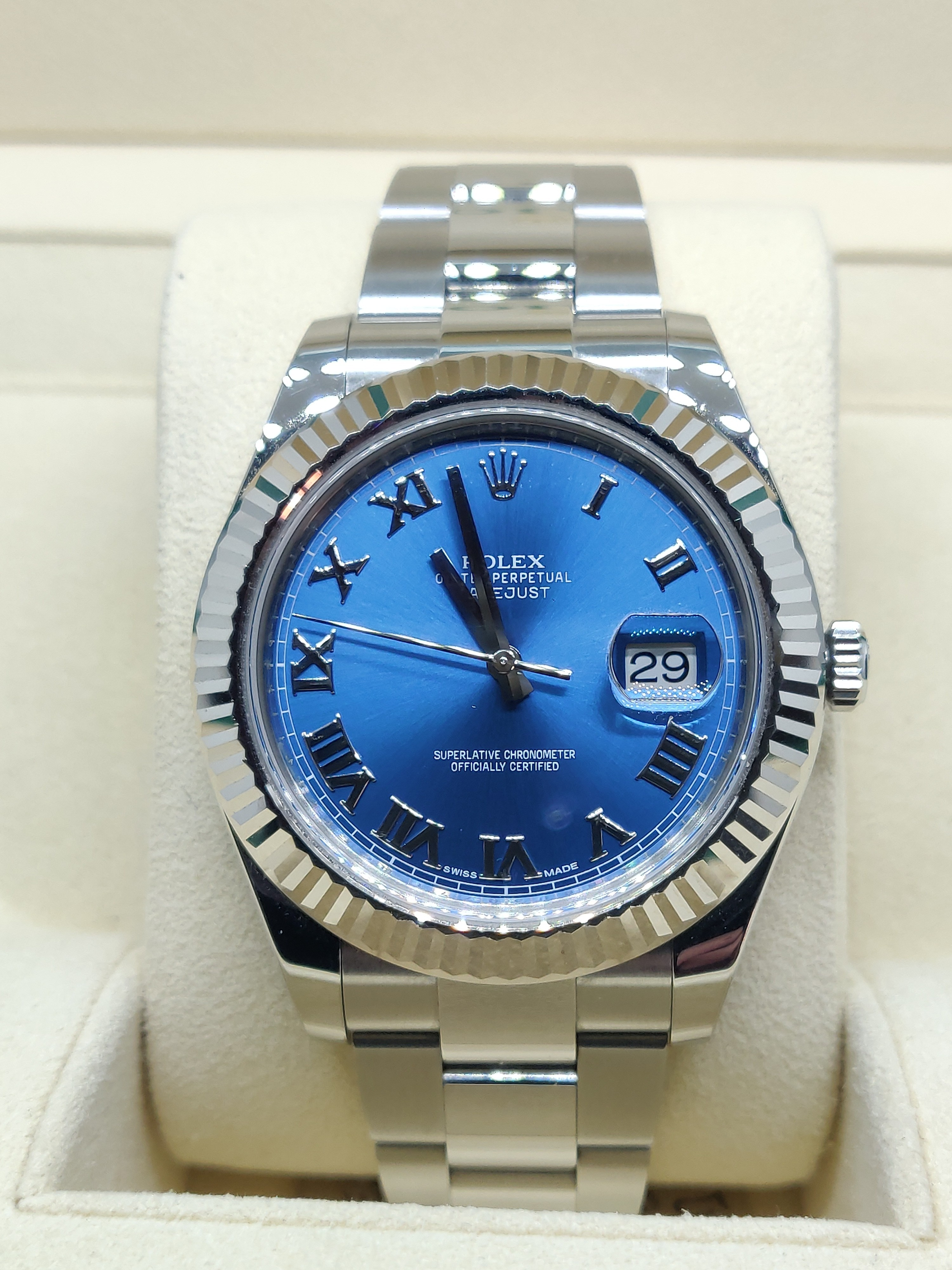 Rolex Datejust II with Blue Dial and Roman Numerals - 116334