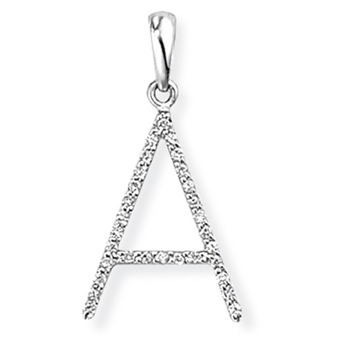 9ct White Gold Diamond Initial A