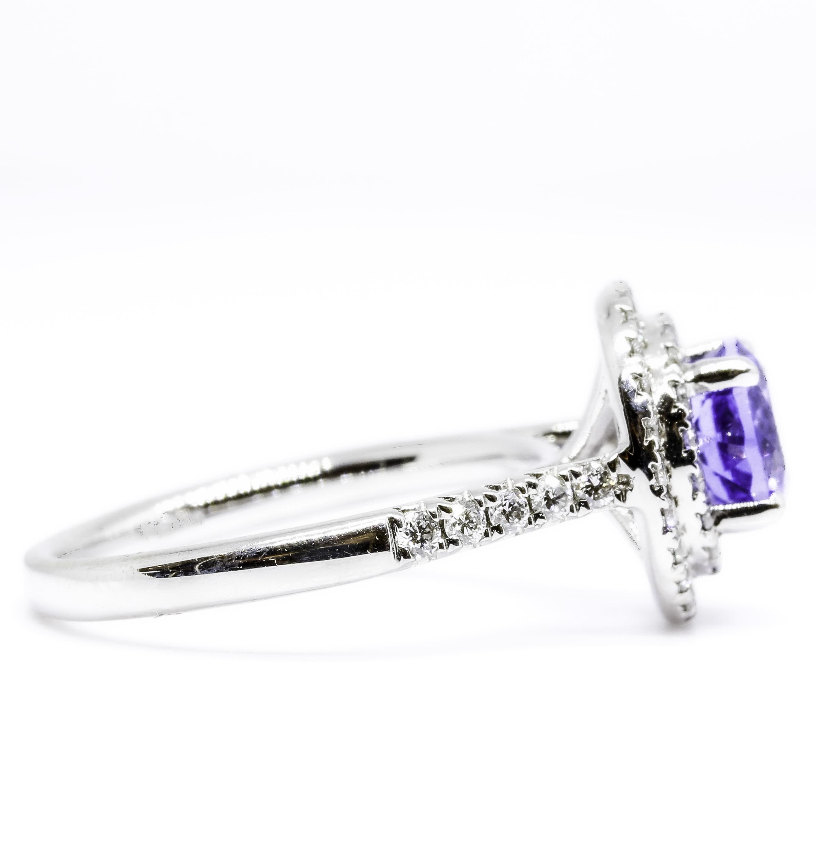 18ct White Gold Tanzanite and Diamond Double Halo Design Ring
