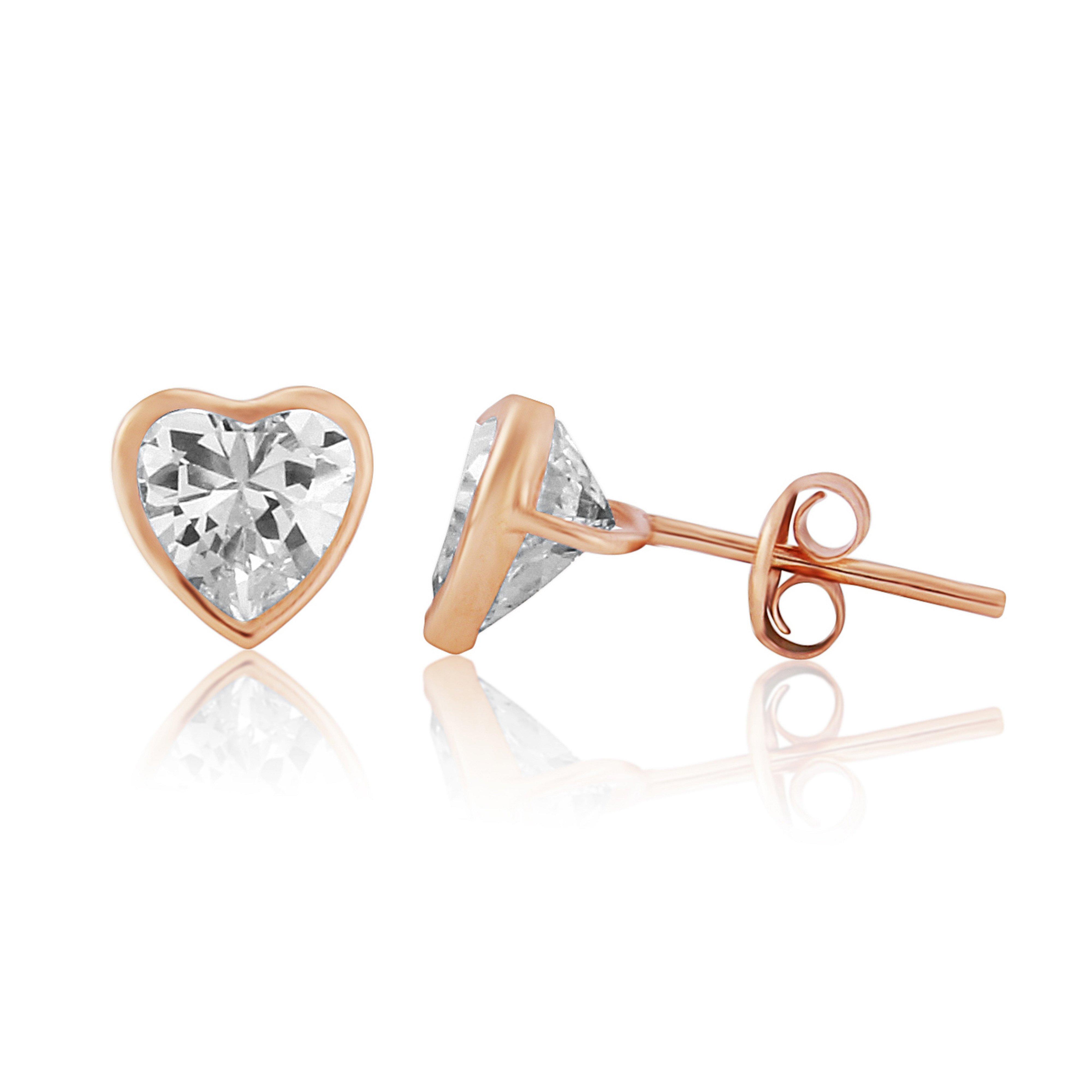 9ct Rose Gold Heart CZ Stud Earrings