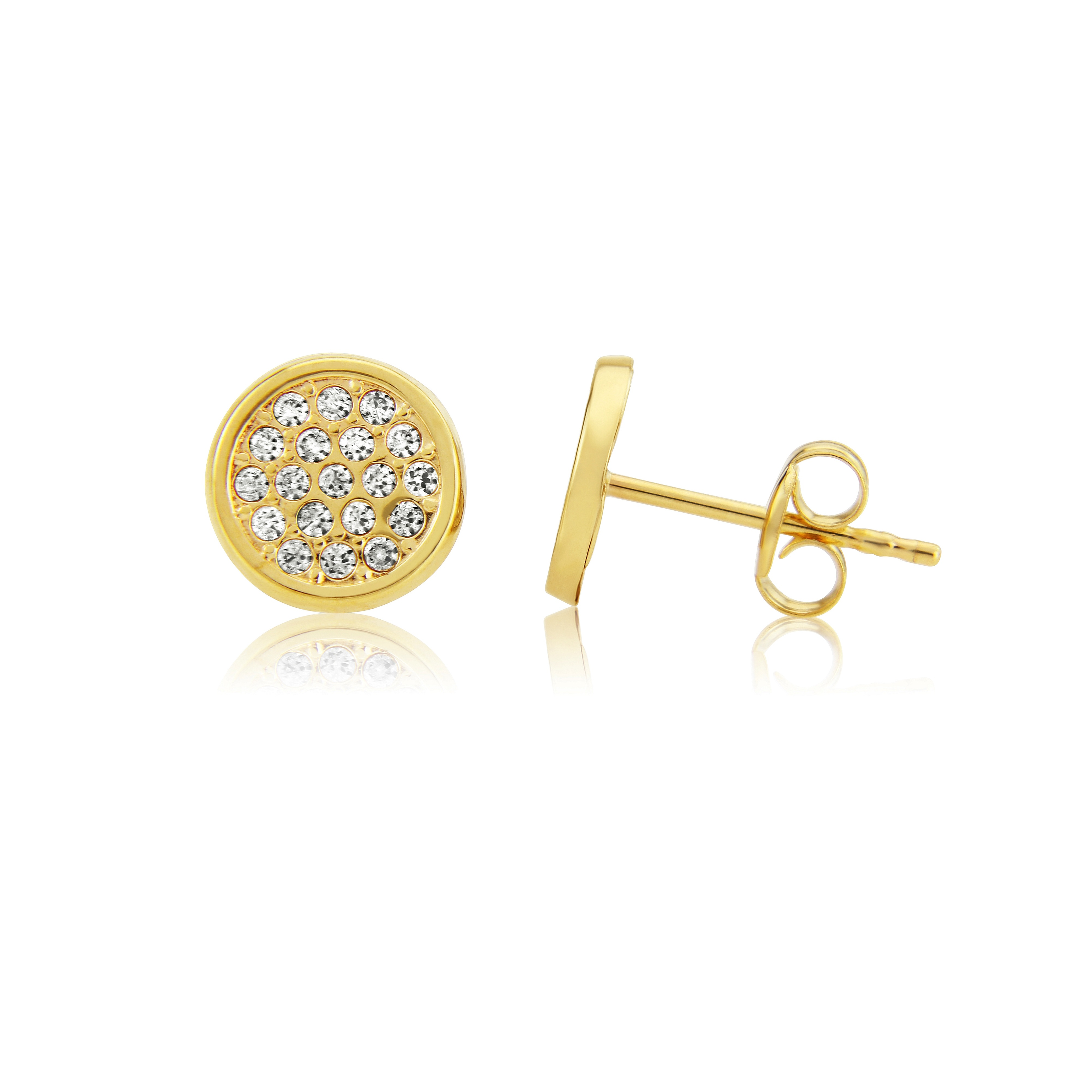 9ct Yellow Gold Pave CZ Stud Earrings