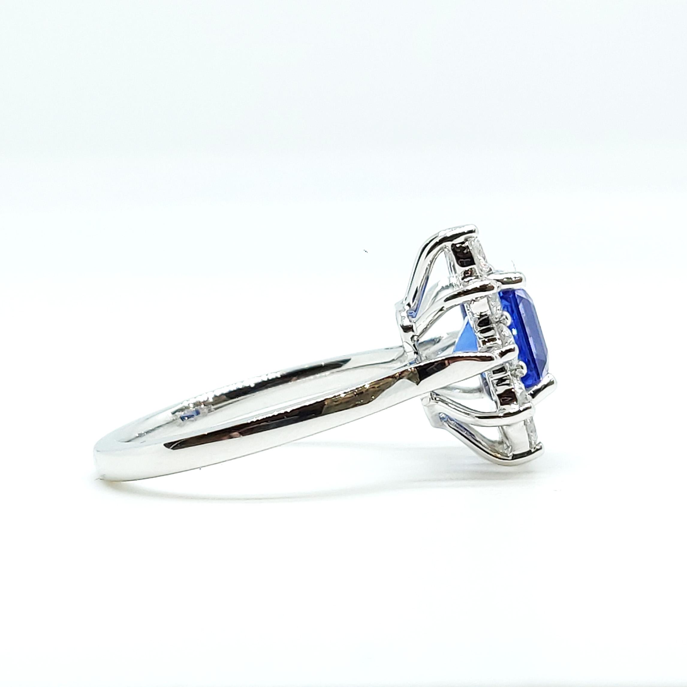 2.00ct Tanzanite and Diamond Cluster Ring