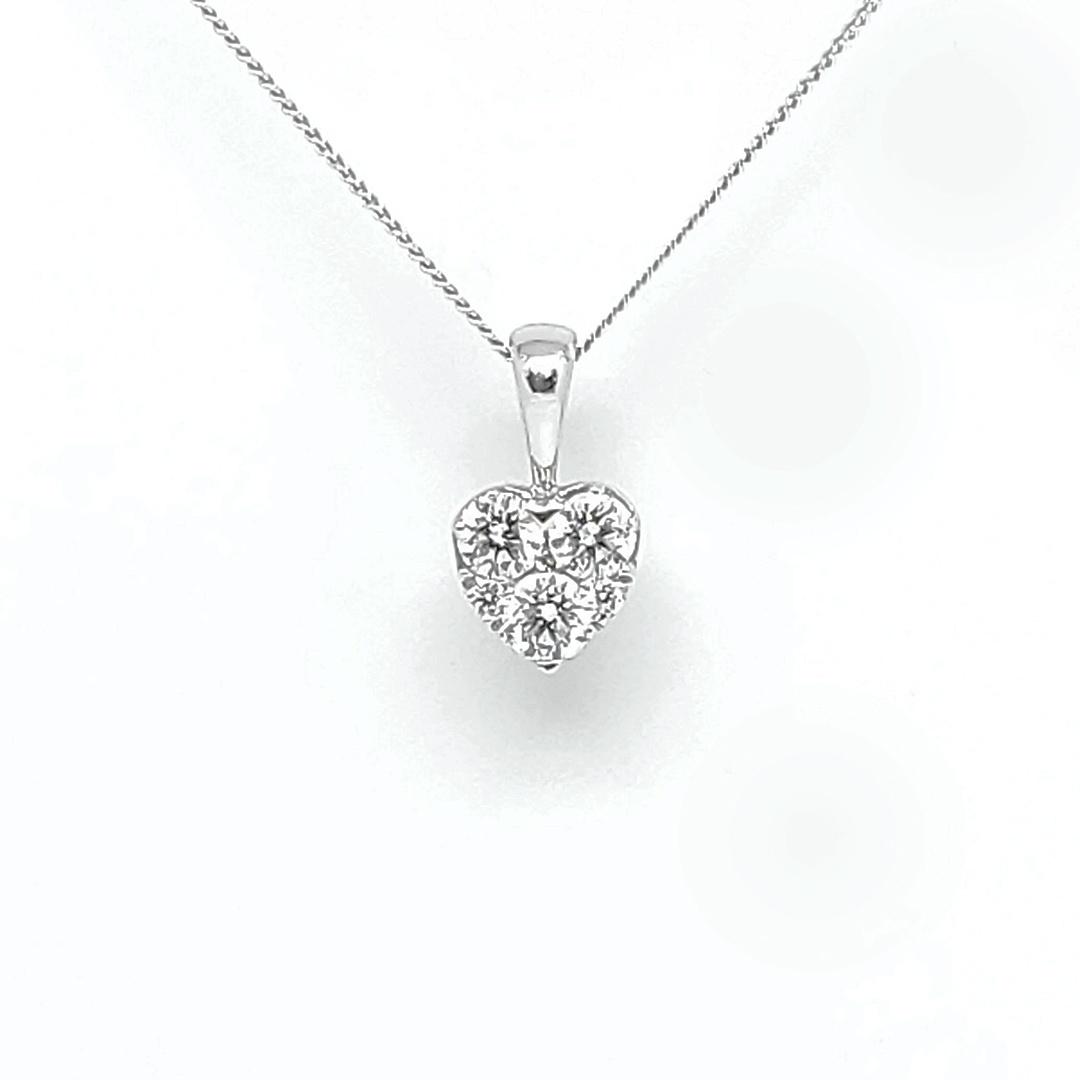 18ct White Gold Diamond Heart Pendant and Chain