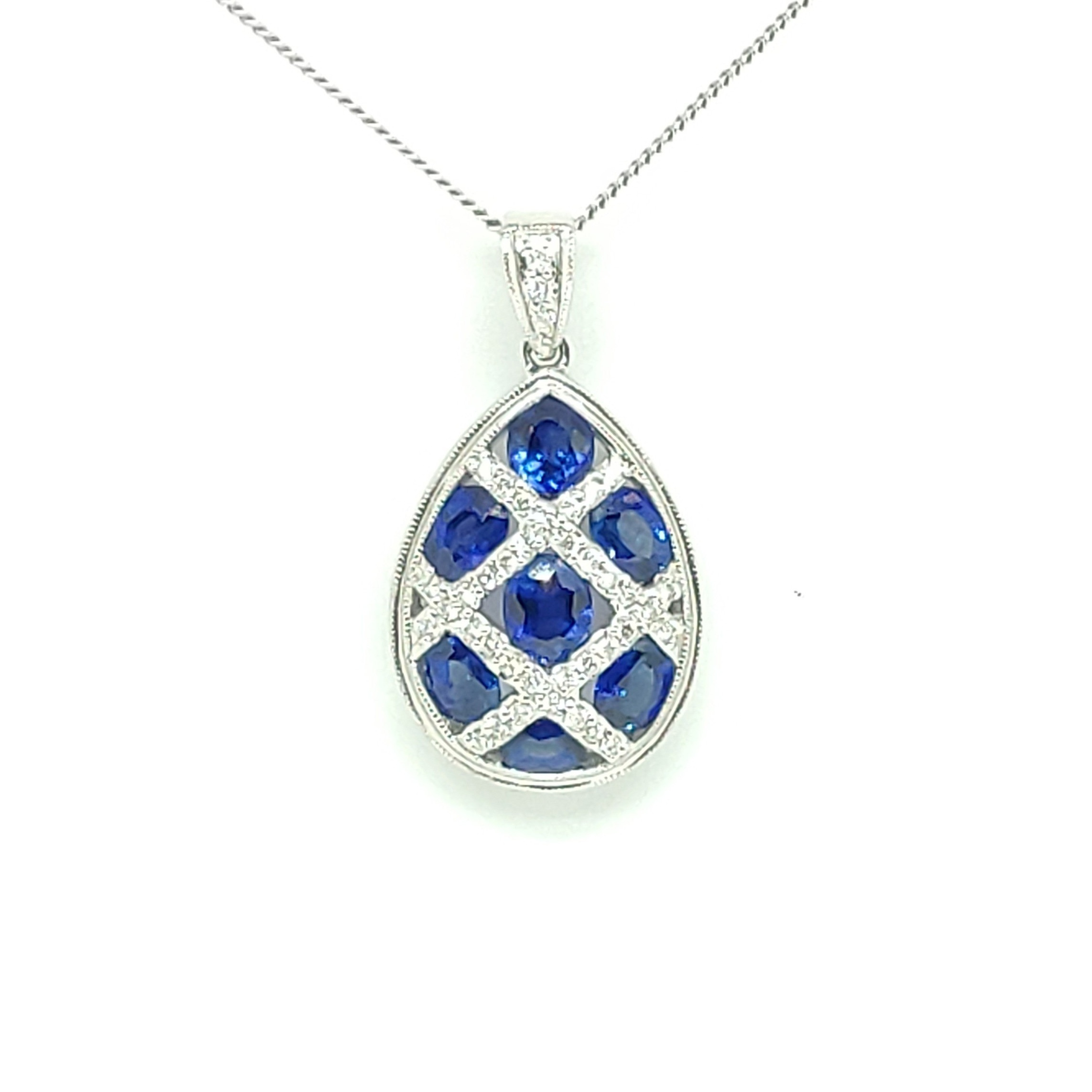 18ct White Gold Sapphire and Diamond Pear Shaped Pendant