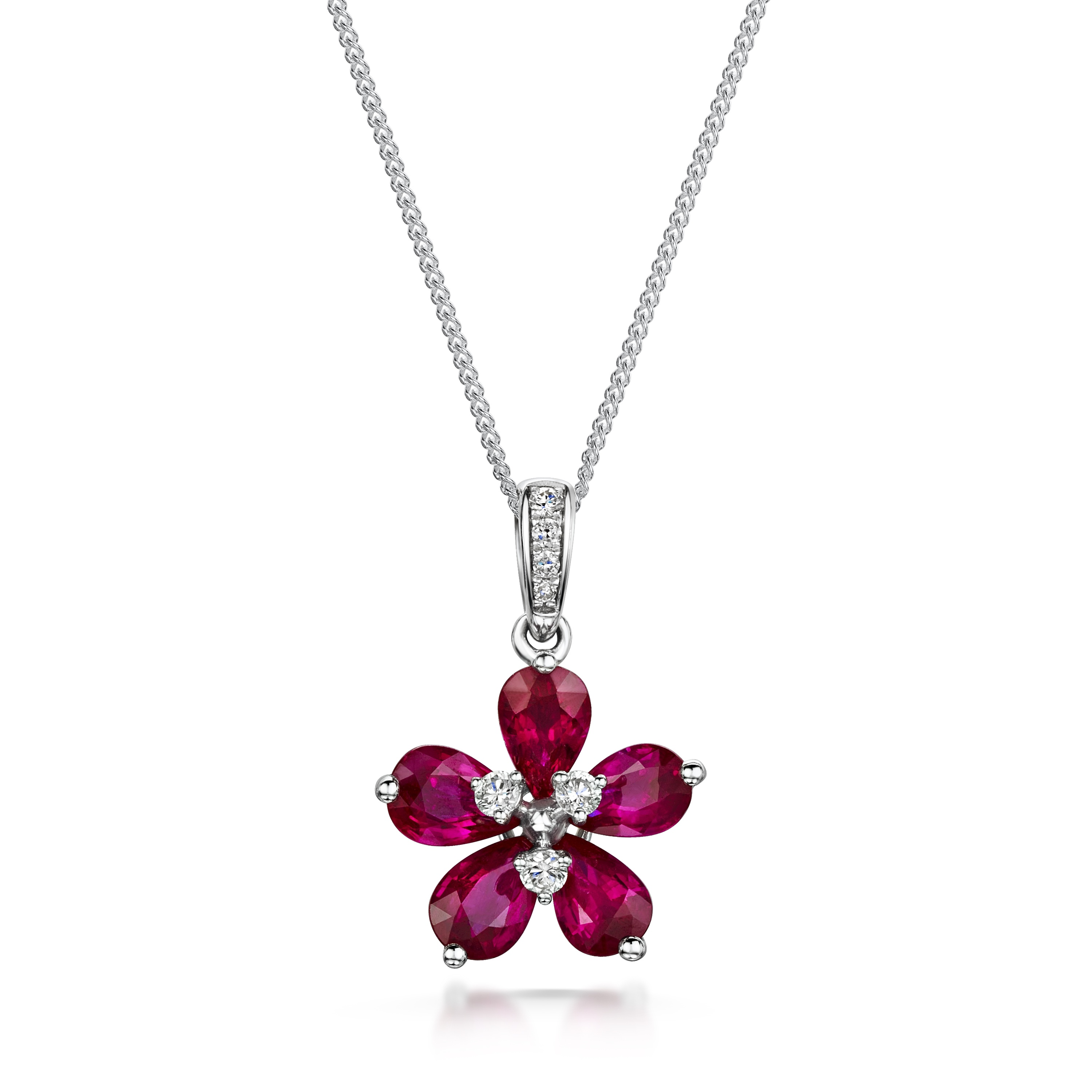 18ct White Gold Ruby and Diamond Flower Pendant