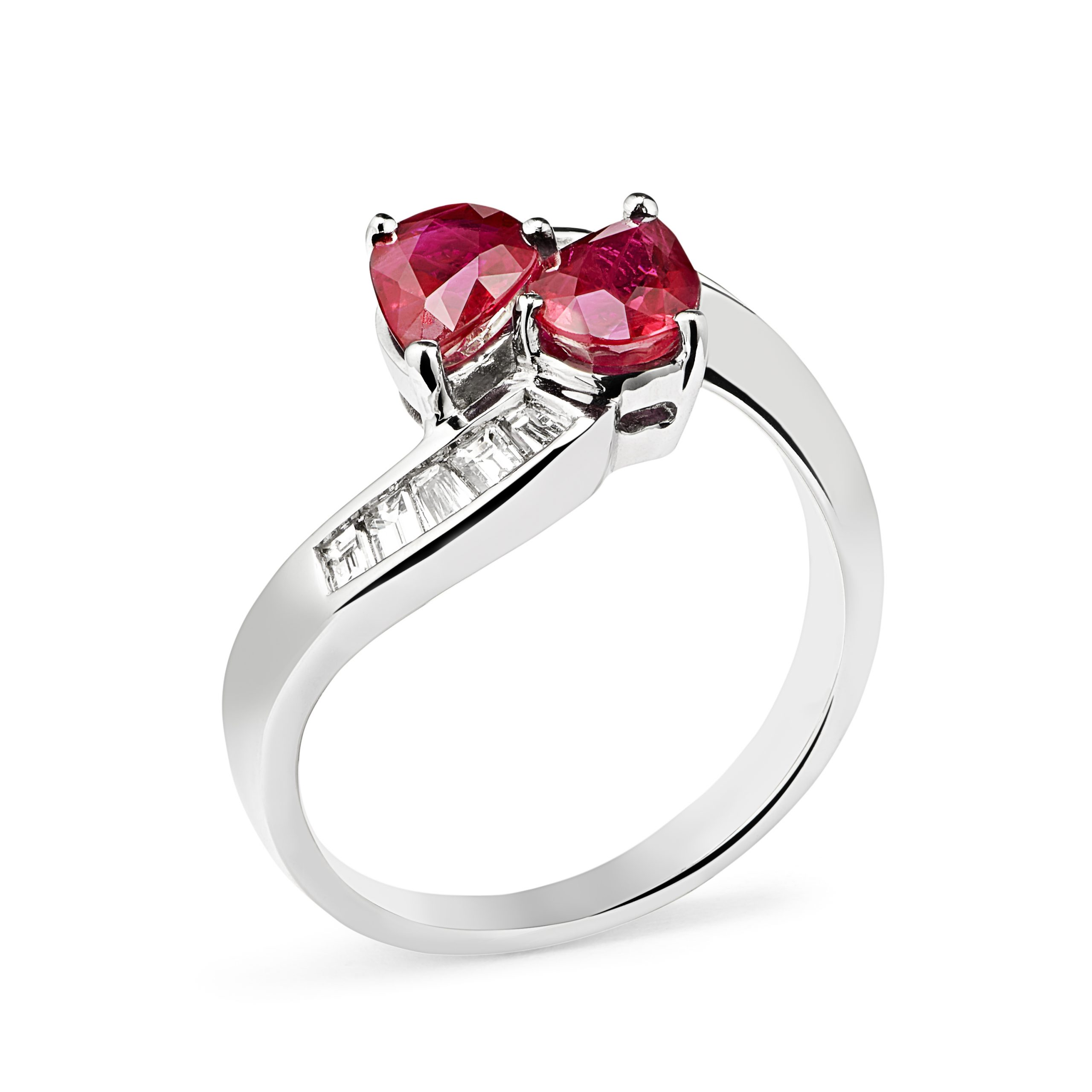 18ct White Gold Ruby and Diamond Crossover Design Ring