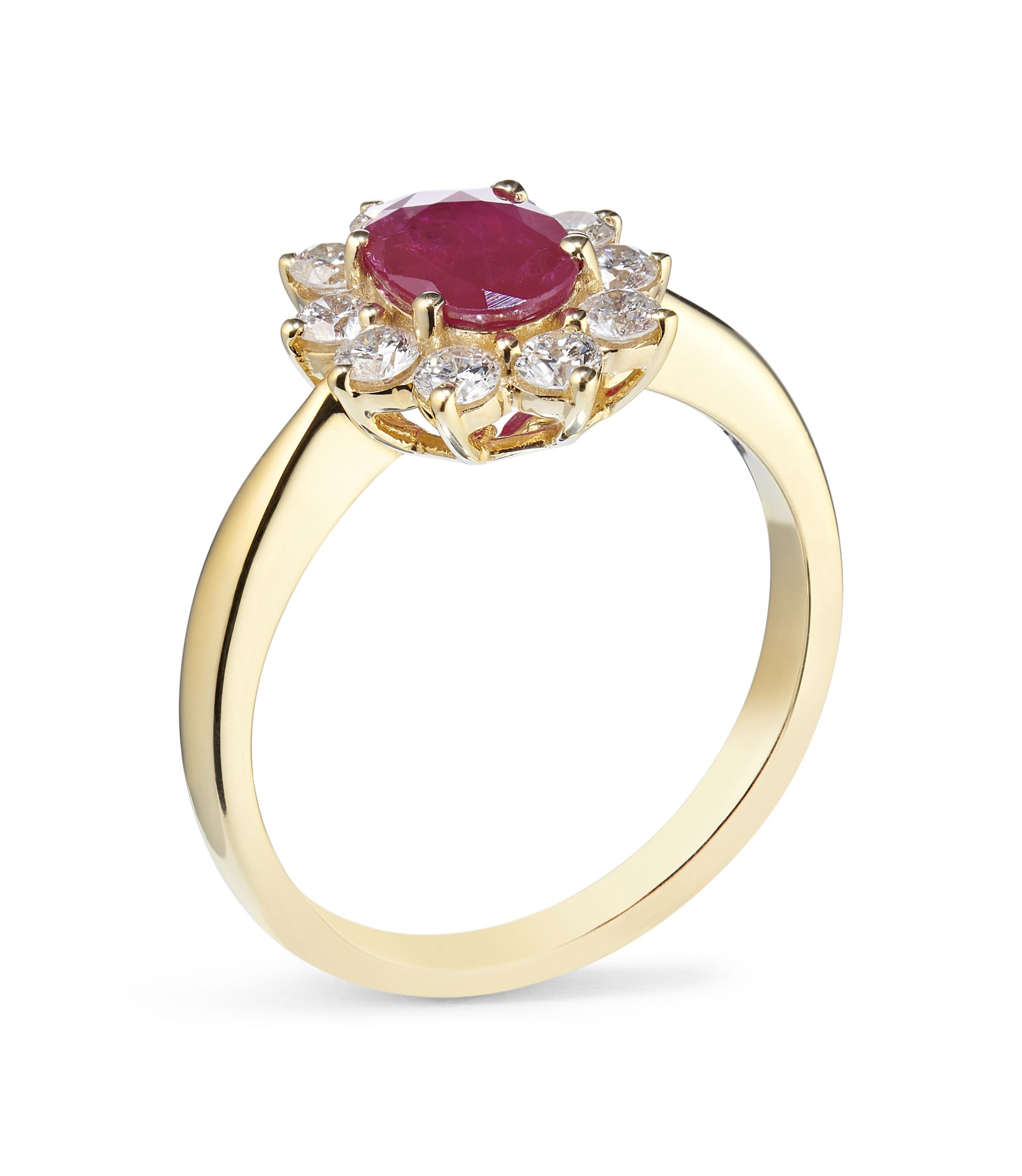 0.57ct Ruby and 0.20ct Diamond 18ct Yellow and White Gold Cluster Ring