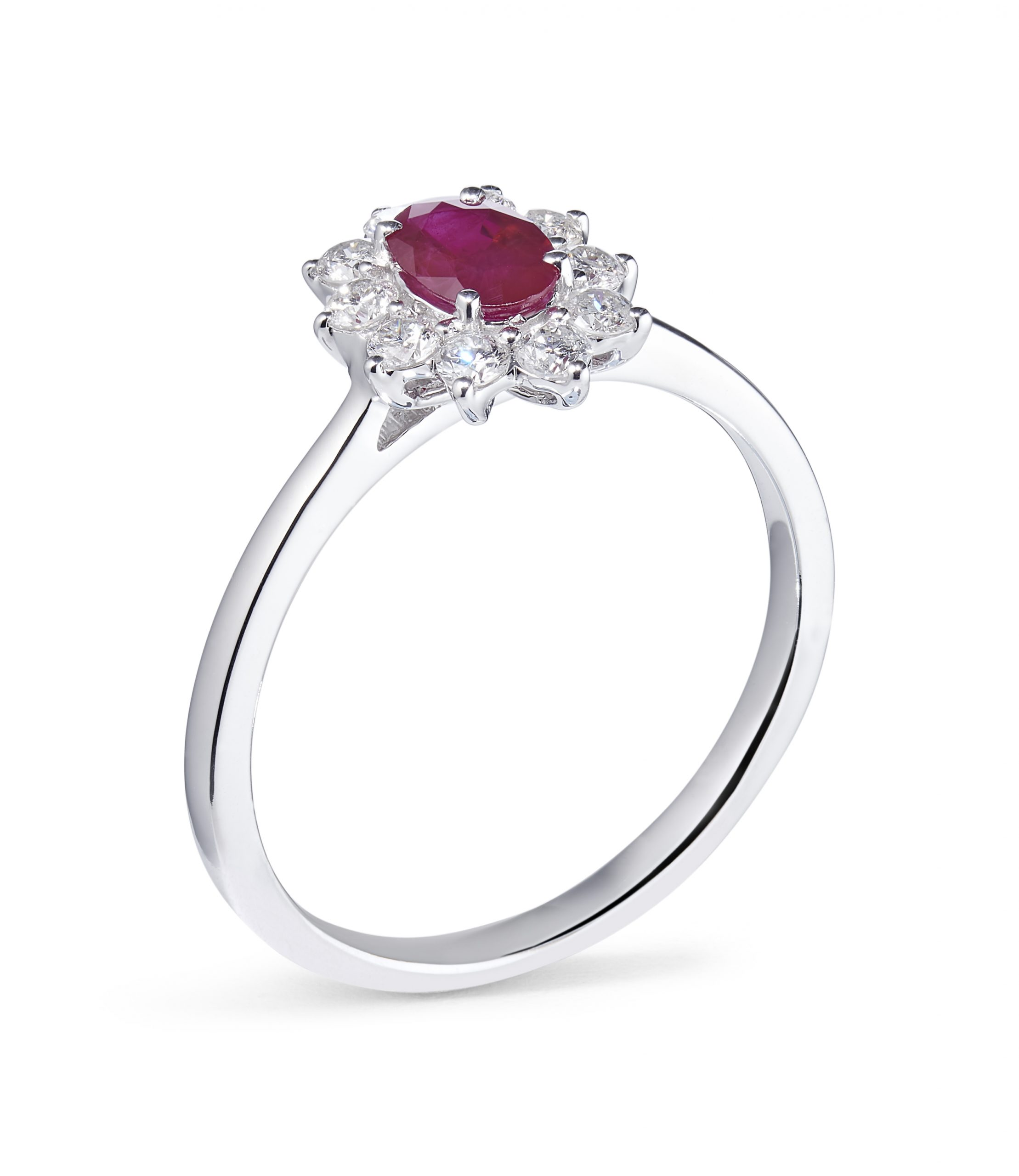 0.47ct Ruby and 0.18ct Diamond 18ct White Gold Cluster Ring