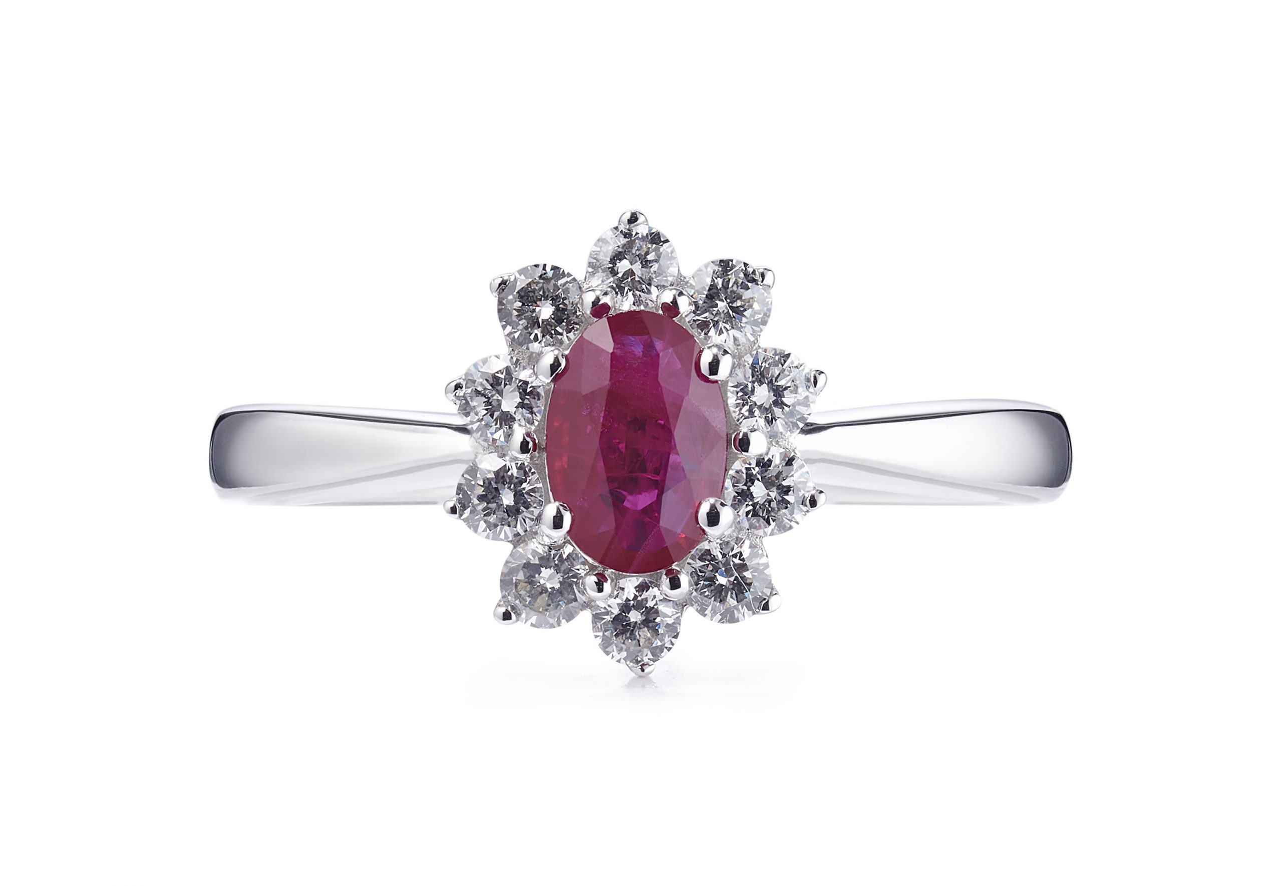1.69ct Ruby and Brilliant Cut Diamond 18ct White Gold Cluster Ring