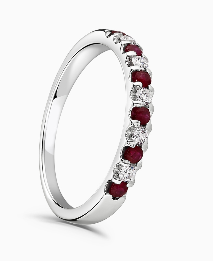0.26ct Ruby and 0.17ct Diamond 18ct White Gold Eternity Ring