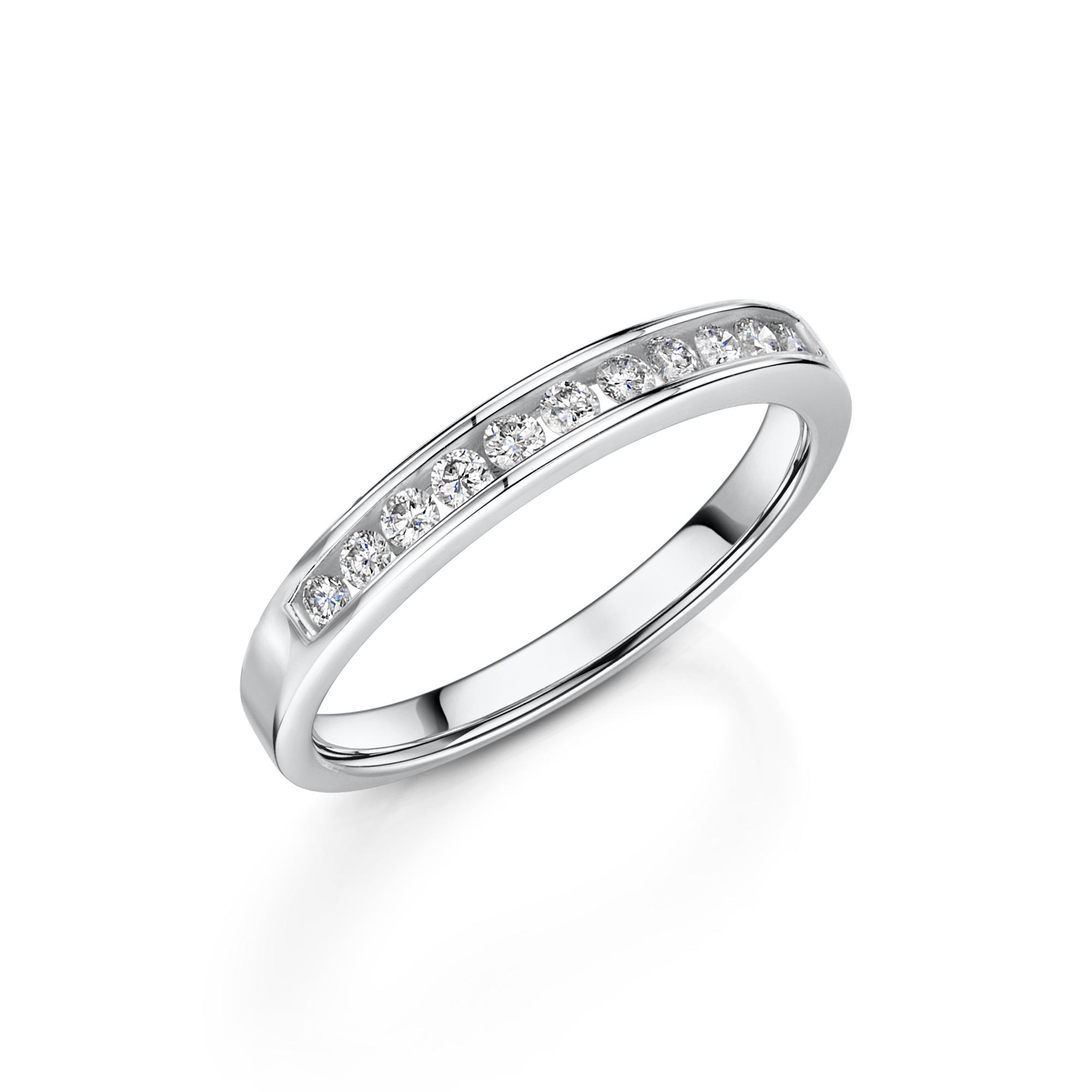 0.50ct 9ct White Gold Diamond Half Hoop Ring
