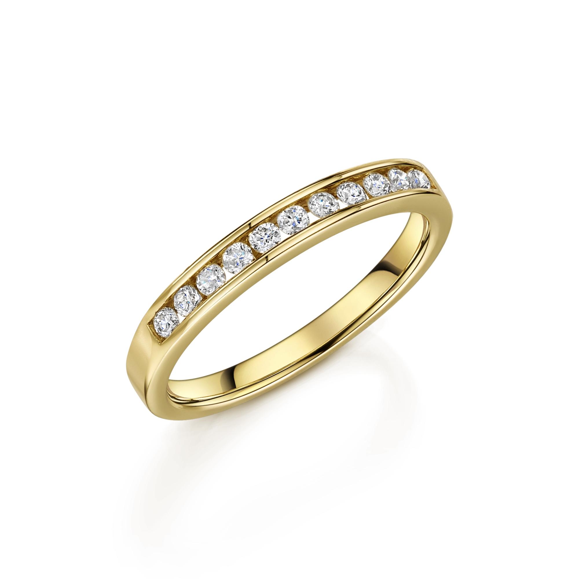 0.50ct 9ct Yellow Gold Diamond Half Hoop Ring