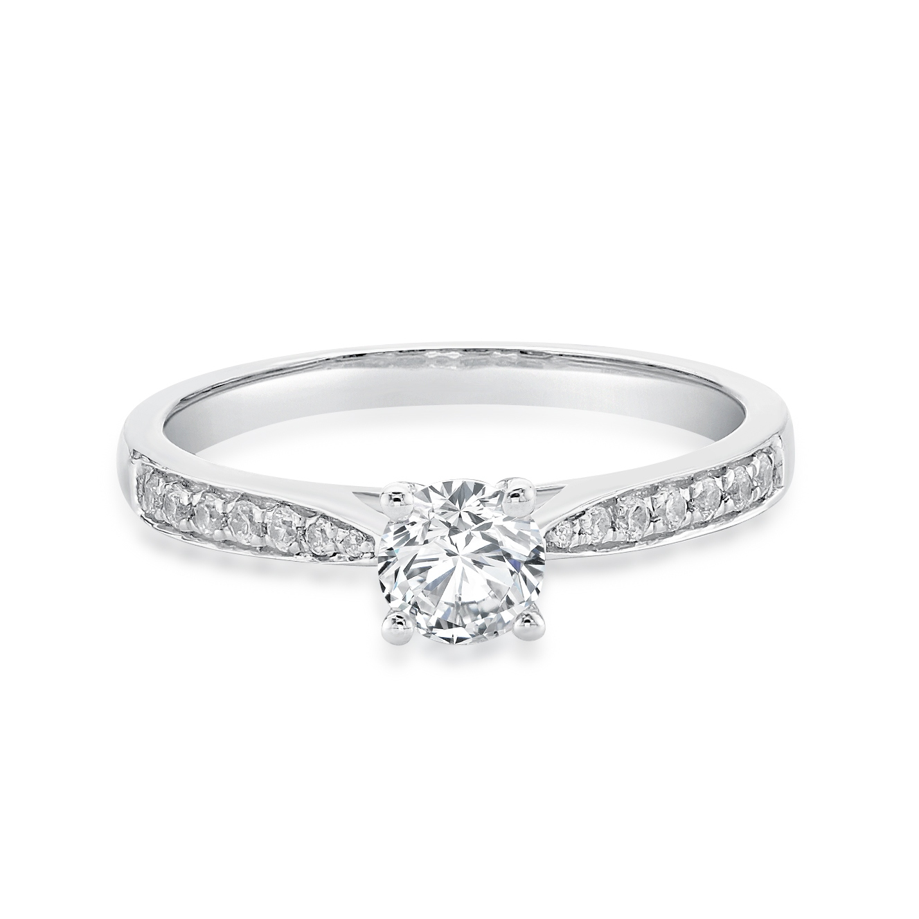 18ct White Gold Ring with Diamond Shoulders