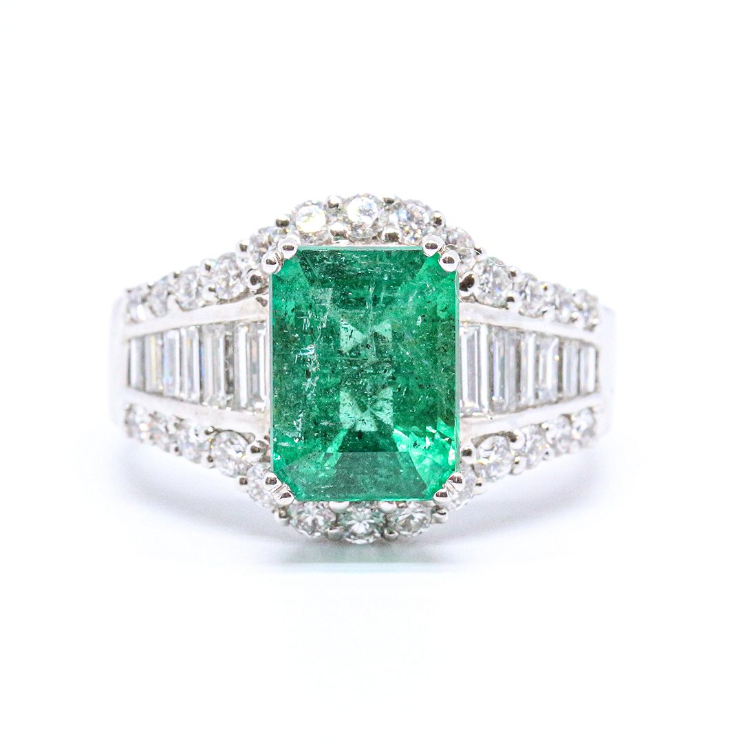 3.08ct Emerald and Diamond Cluster Ring