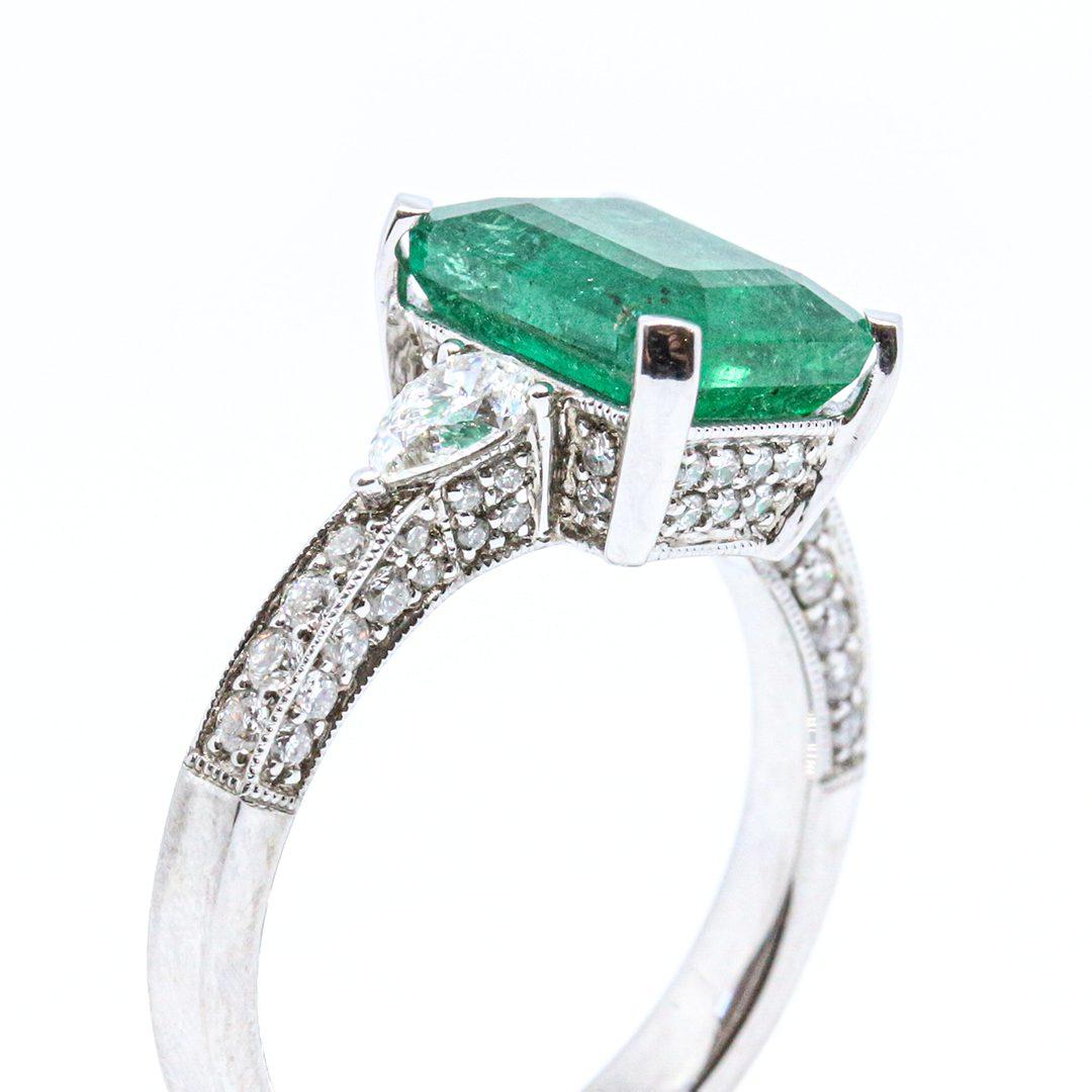2.89ct Emerald and Diamond Ring