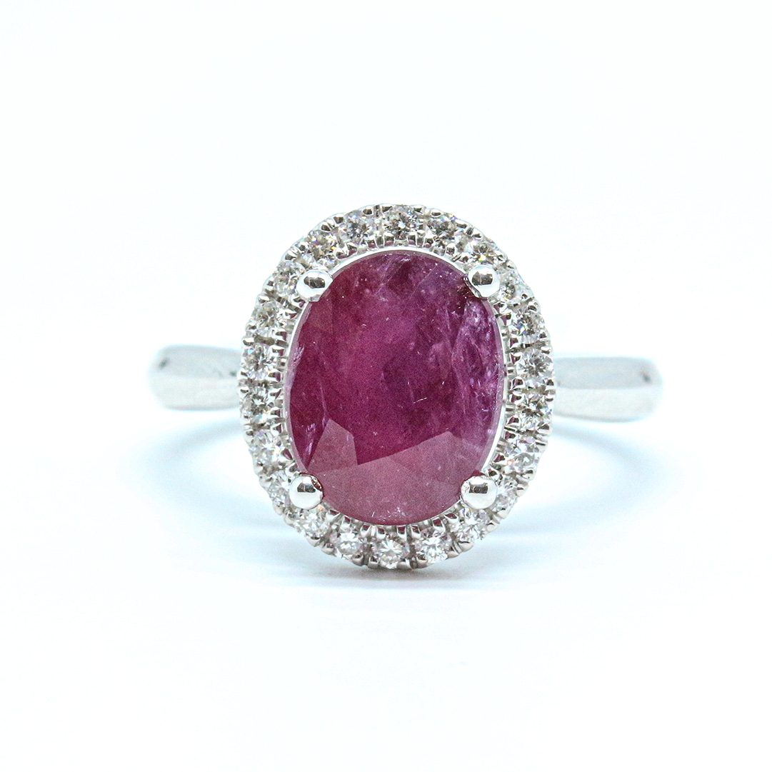 3.55ct Ruby and Diamond Cluster Ring