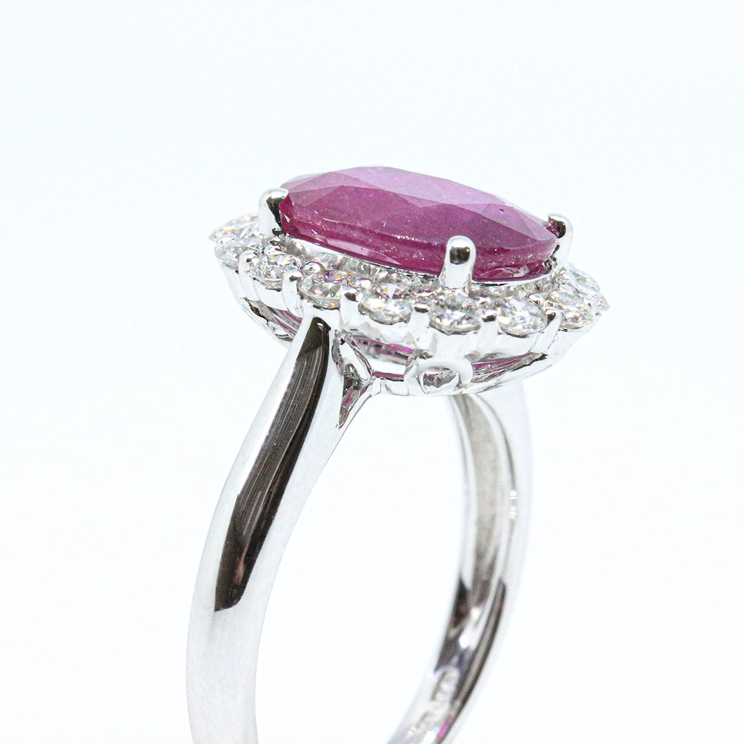 4.03ct Ruby and Diamond Cluster Ring