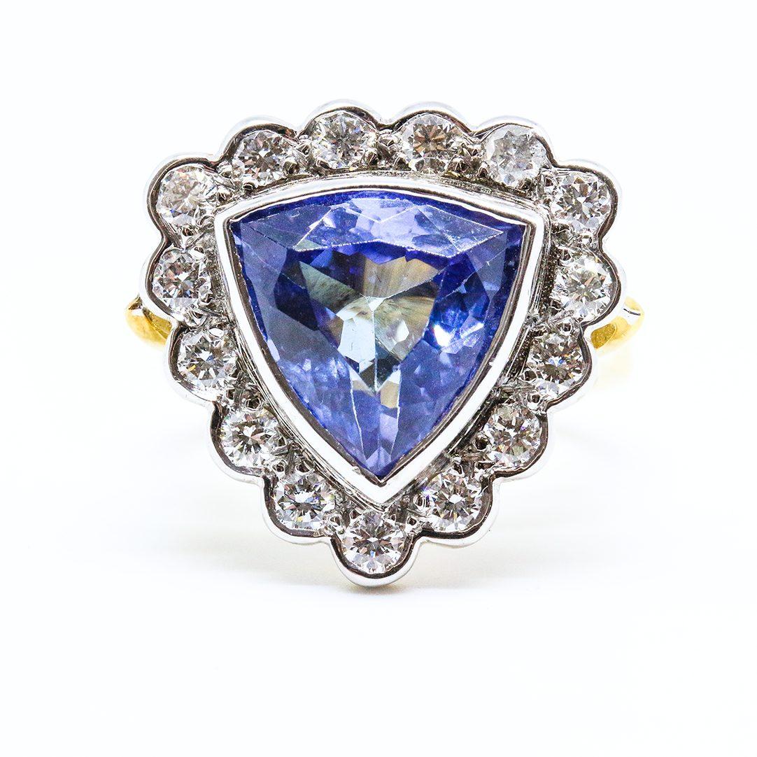 5.50ct Tanzanite and Diamond Cluster Ring